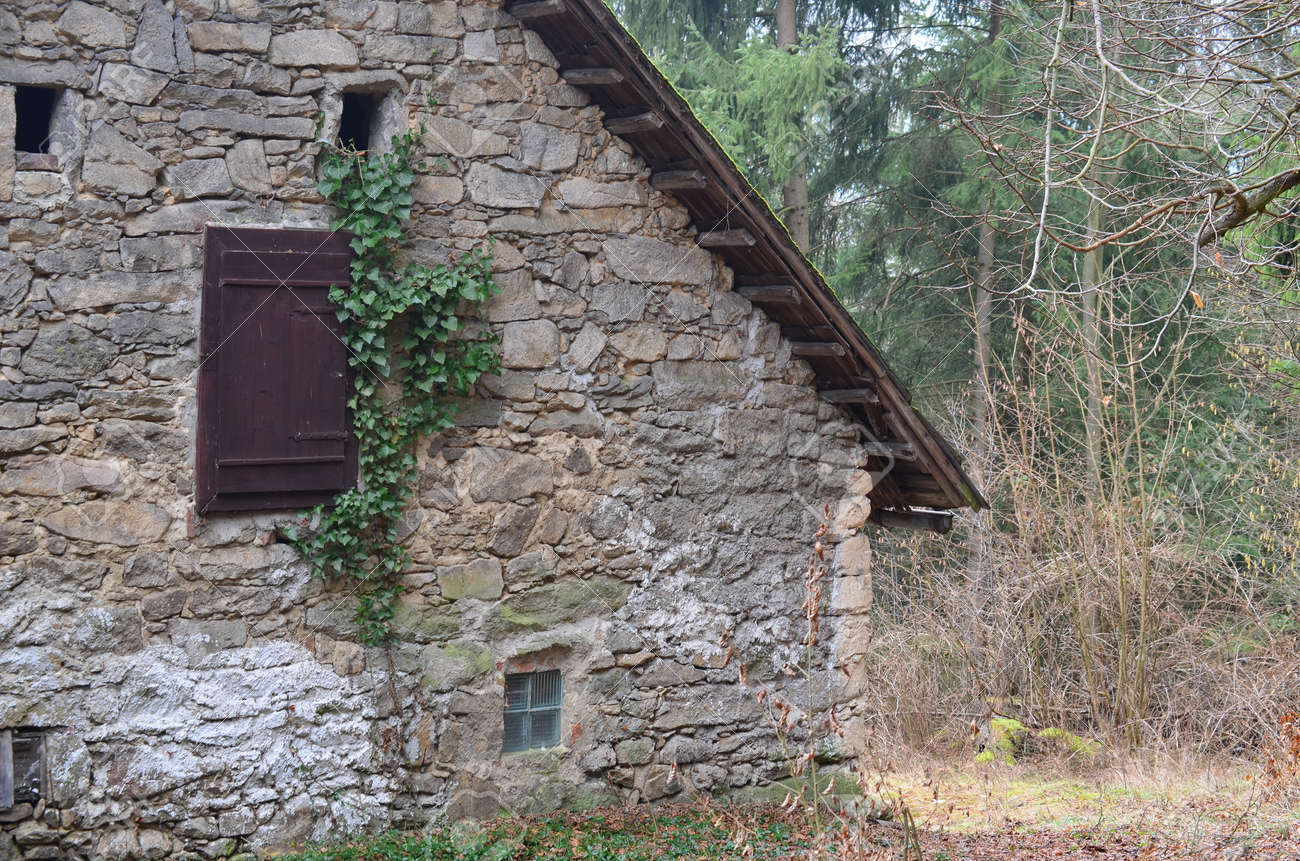 Old Stone House In The Woods Of South Bohemia Czech Republic Stock Photo