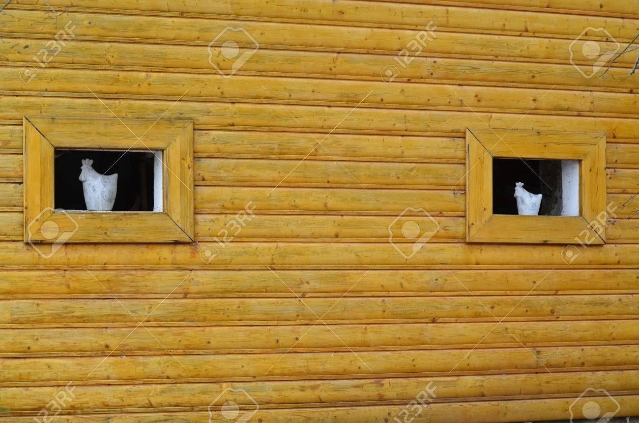 wood paneling walls with windows and ceramics, Czech Republic
