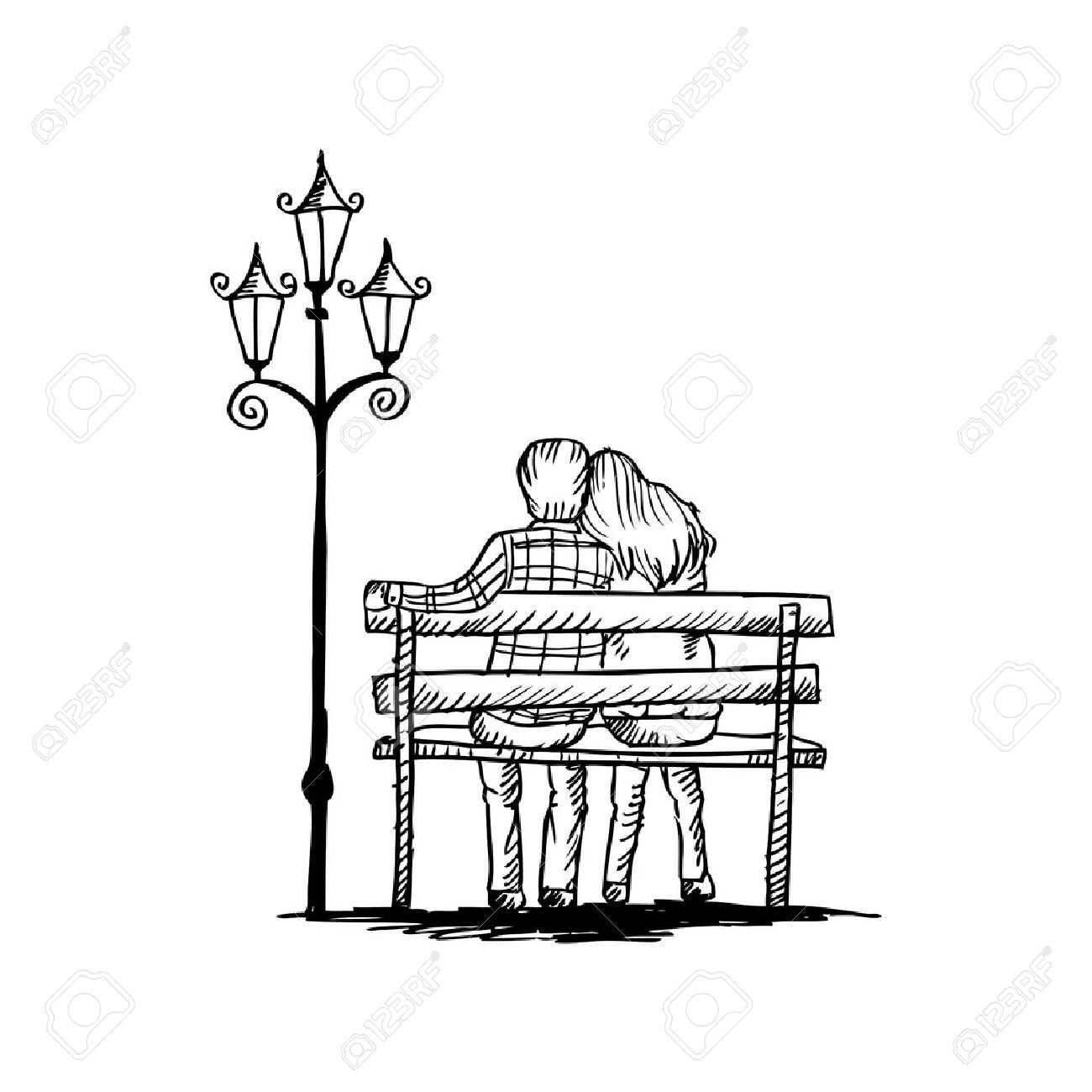 Love couple on bench sketching stock vector 52356540