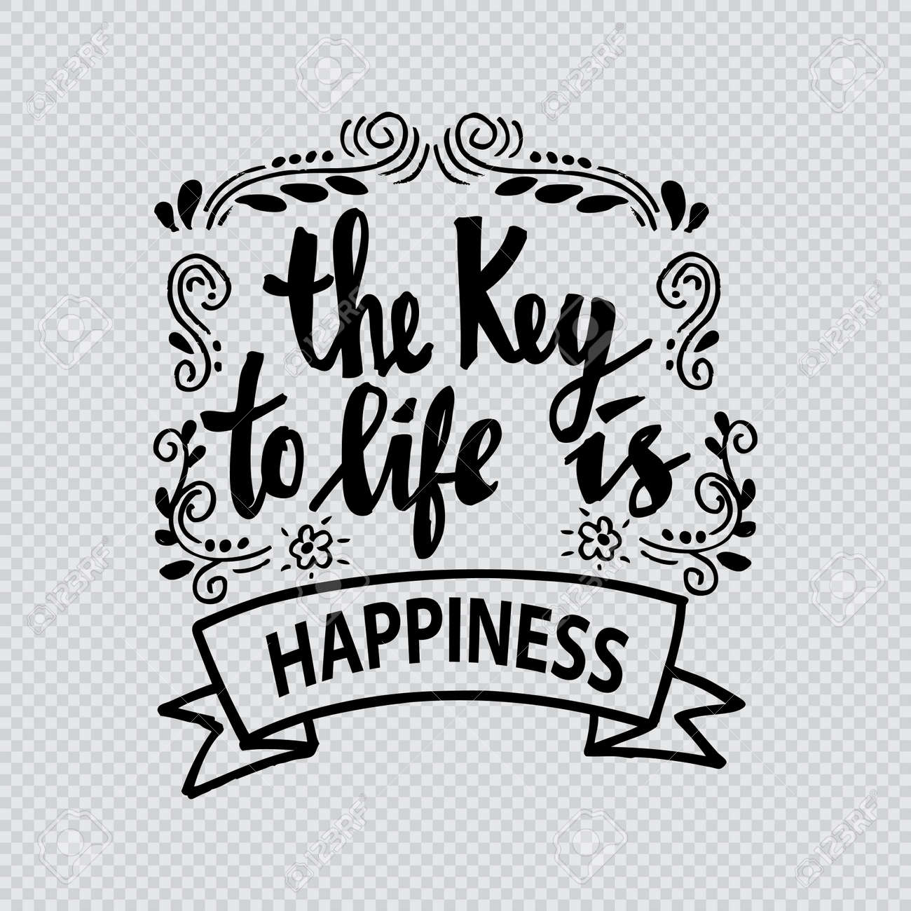 The Key To Life Is Happiness Quotes Motivation Royalty Free