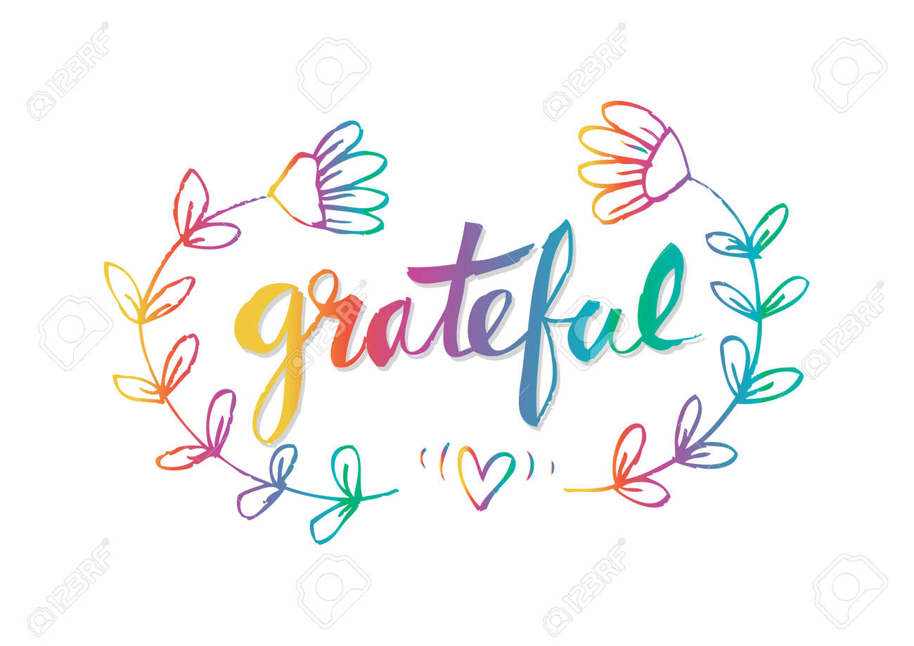 Grateful, Hand Lettering. Modern Calligraphy. Royalty Free ...
