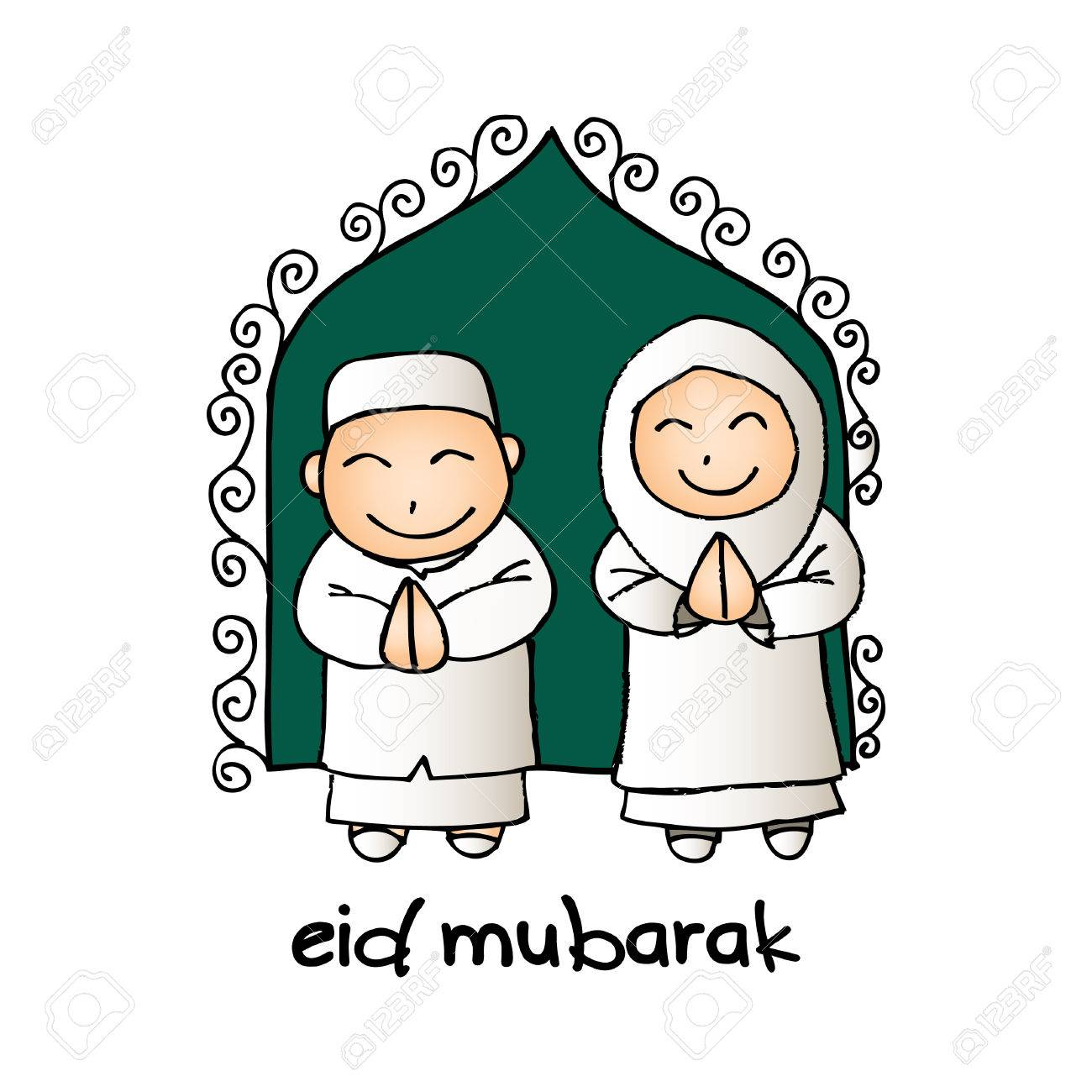 Eid mubarak greeting card with cute cartoon muslim royalty free eid mubarak greeting card with cute cartoon muslim stock vector 77844226 m4hsunfo