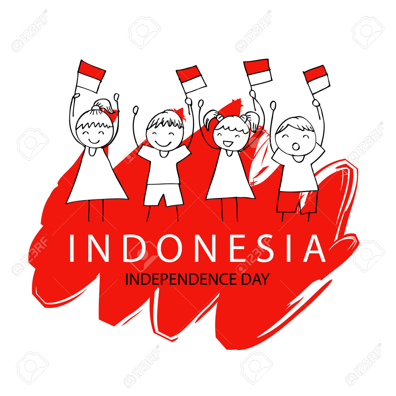 Hand drawing boy and girl holding flag  Independence day of Indonesia