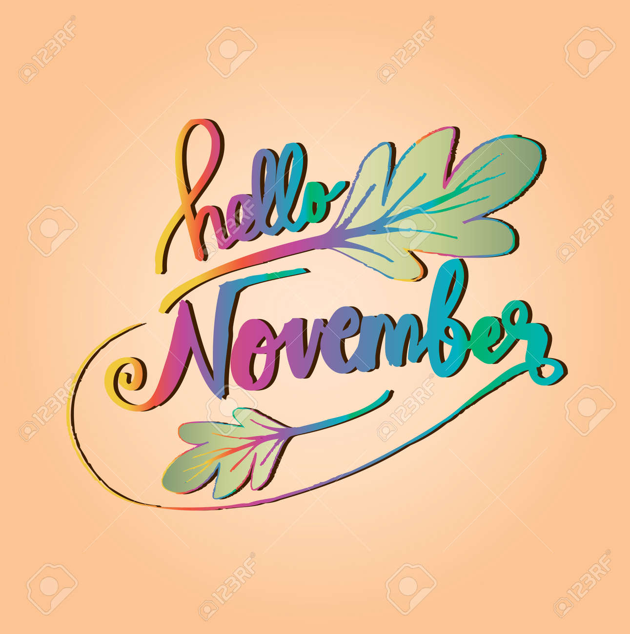 hello november modern brush lettering royalty free cliparts