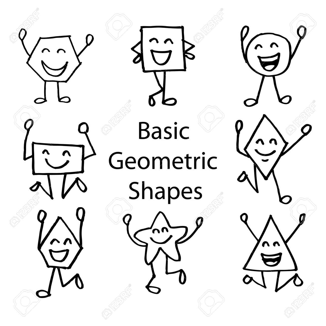 Formas Geométricas Básicas Con Cara De Dibujos Animados Lindo
