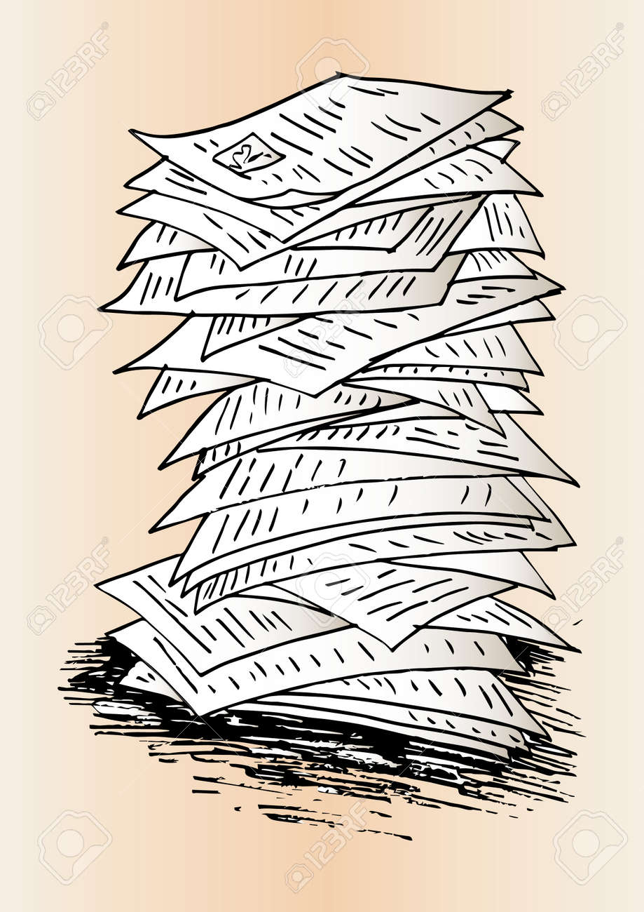 sketch of stack of work papers royalty free cliparts, vectors, and