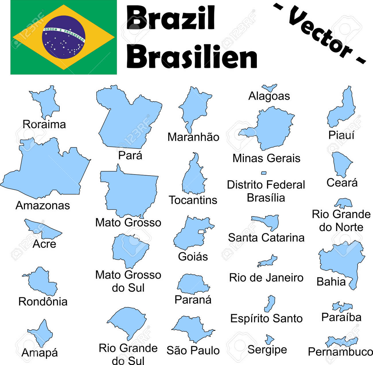 The Administrative Divisions Of Brazil With Names Royalty Free