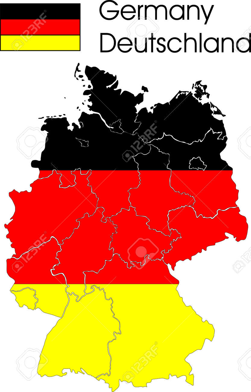German Map With Provinces And Flag In The Background Royalty Free - Germany map provinces