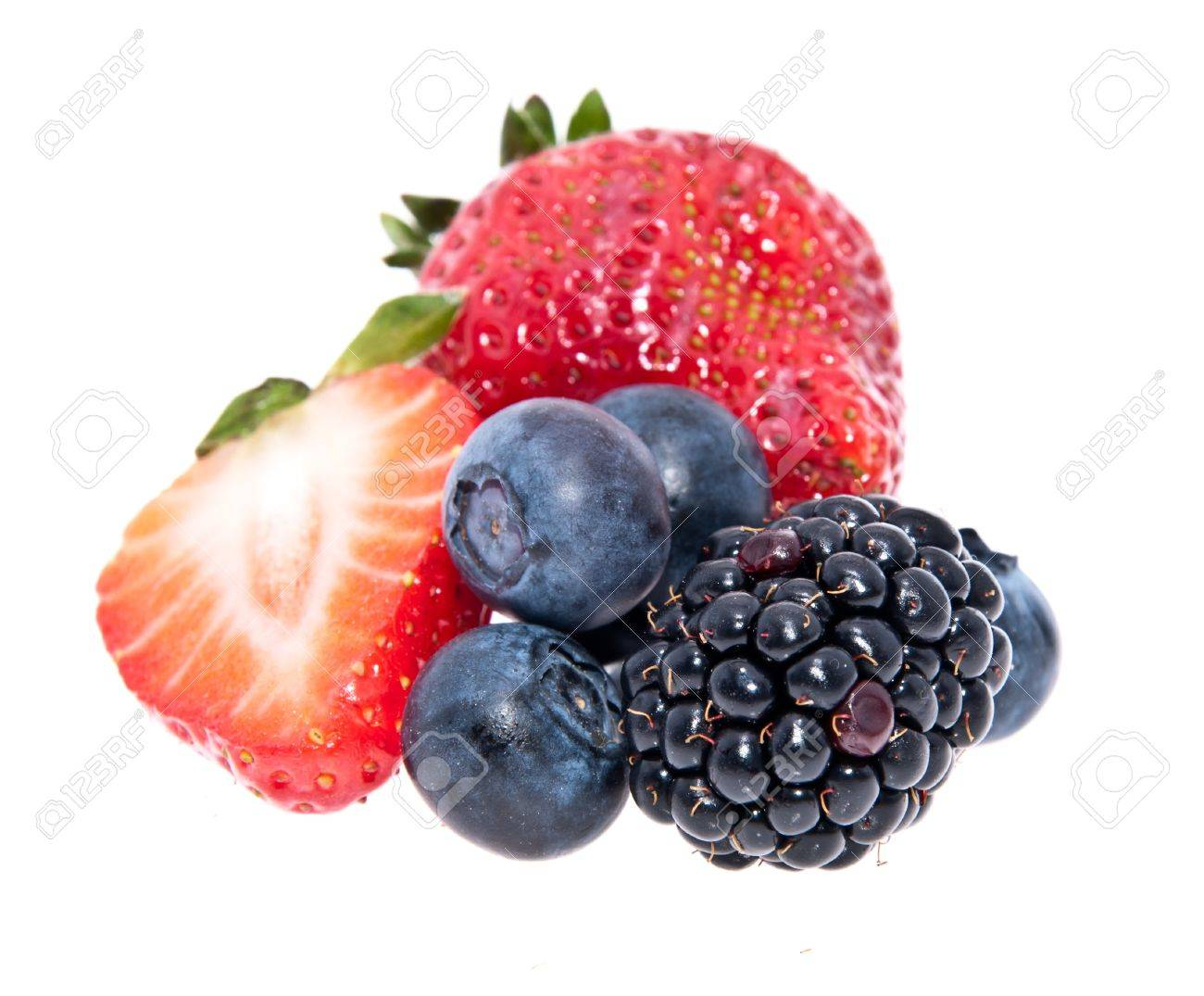 Heap of mixed berries isolated on white background Stock Photo - 13699382