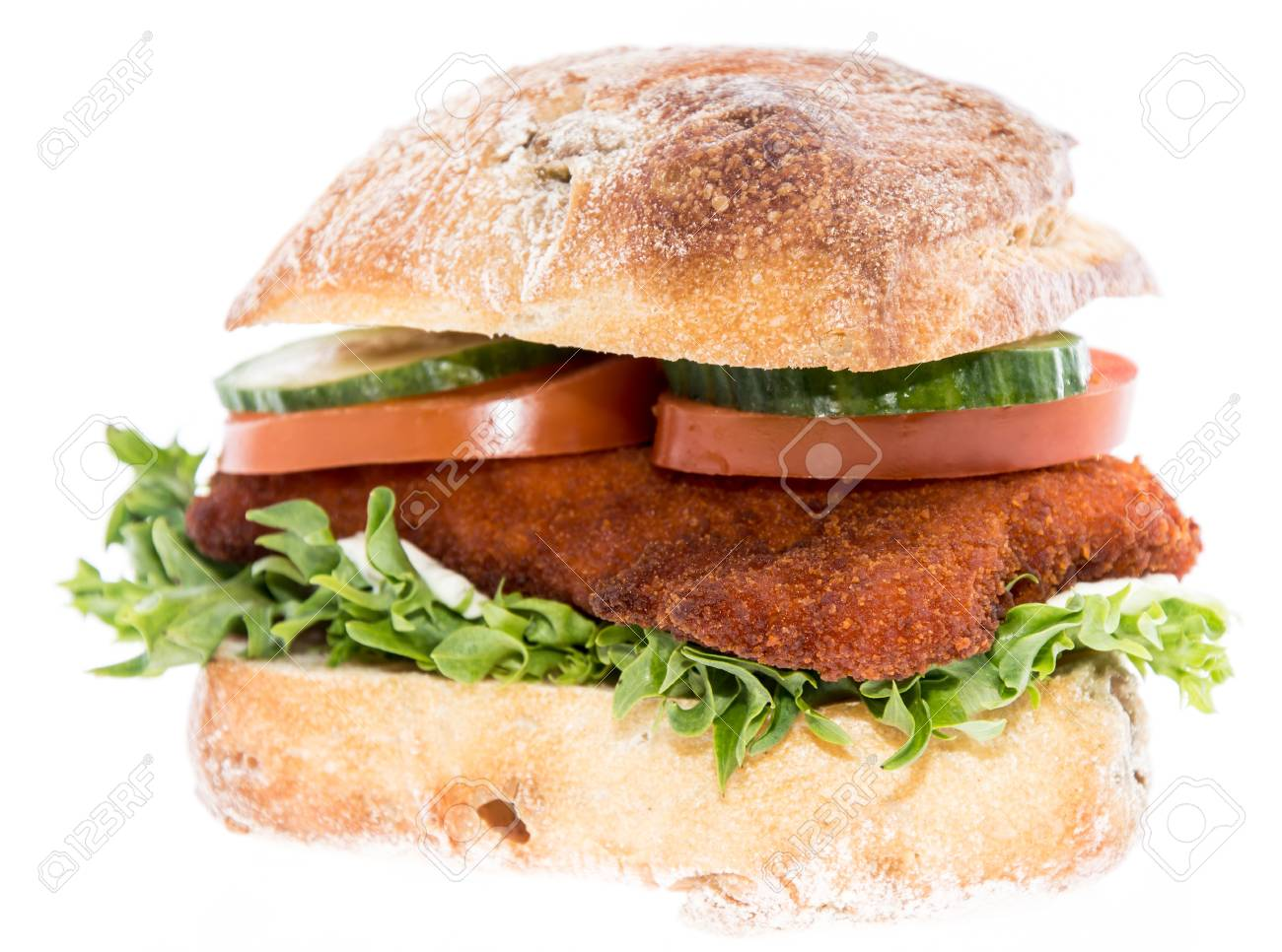Chicken Schnitzel On A Roll Isolated On White Background Stock Photo Picture And Royalty Free Image Image 17977102