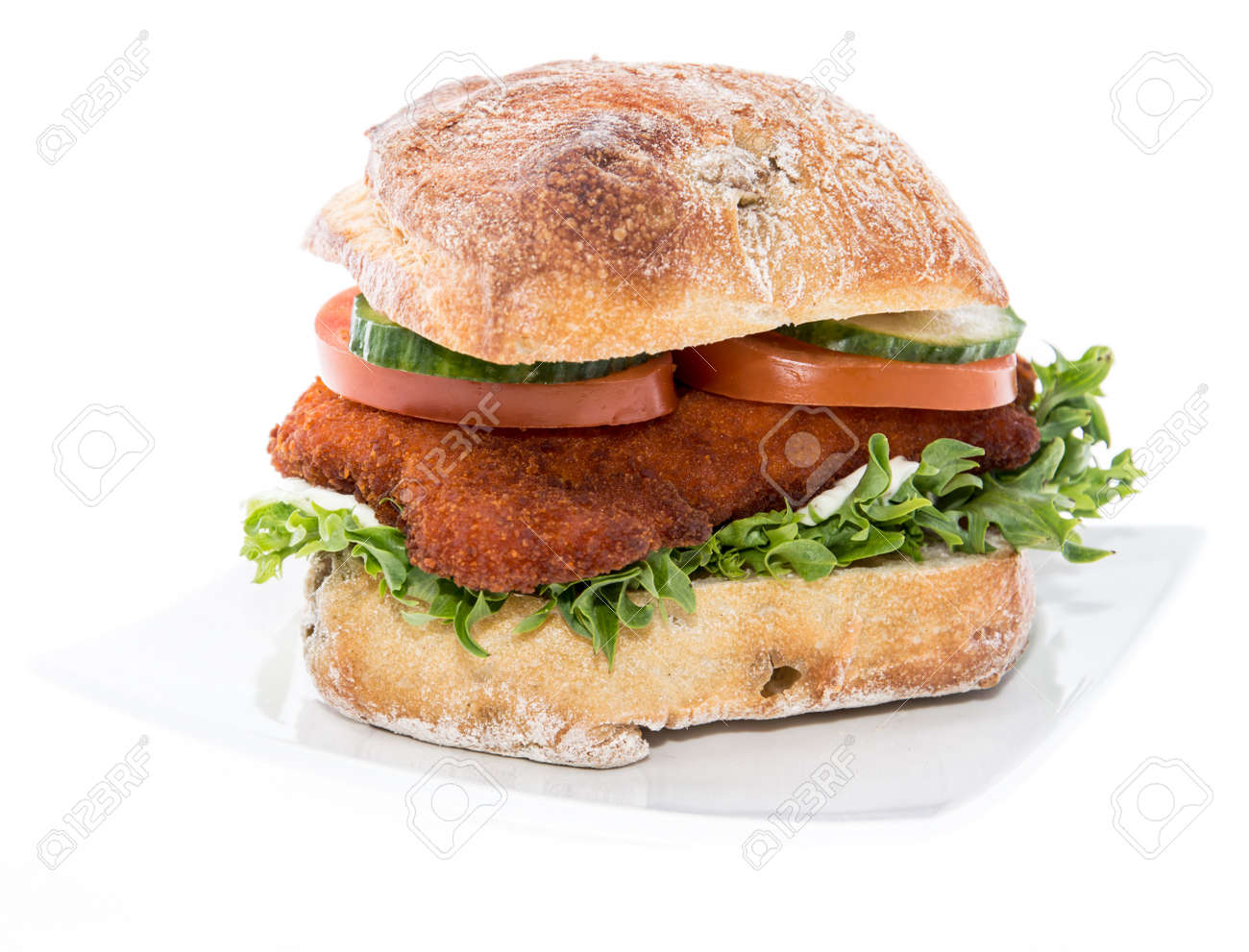 Chicken Schnitzel On A Roll Isolated On White Background Stock Photo Picture And Royalty Free Image Image 17977103