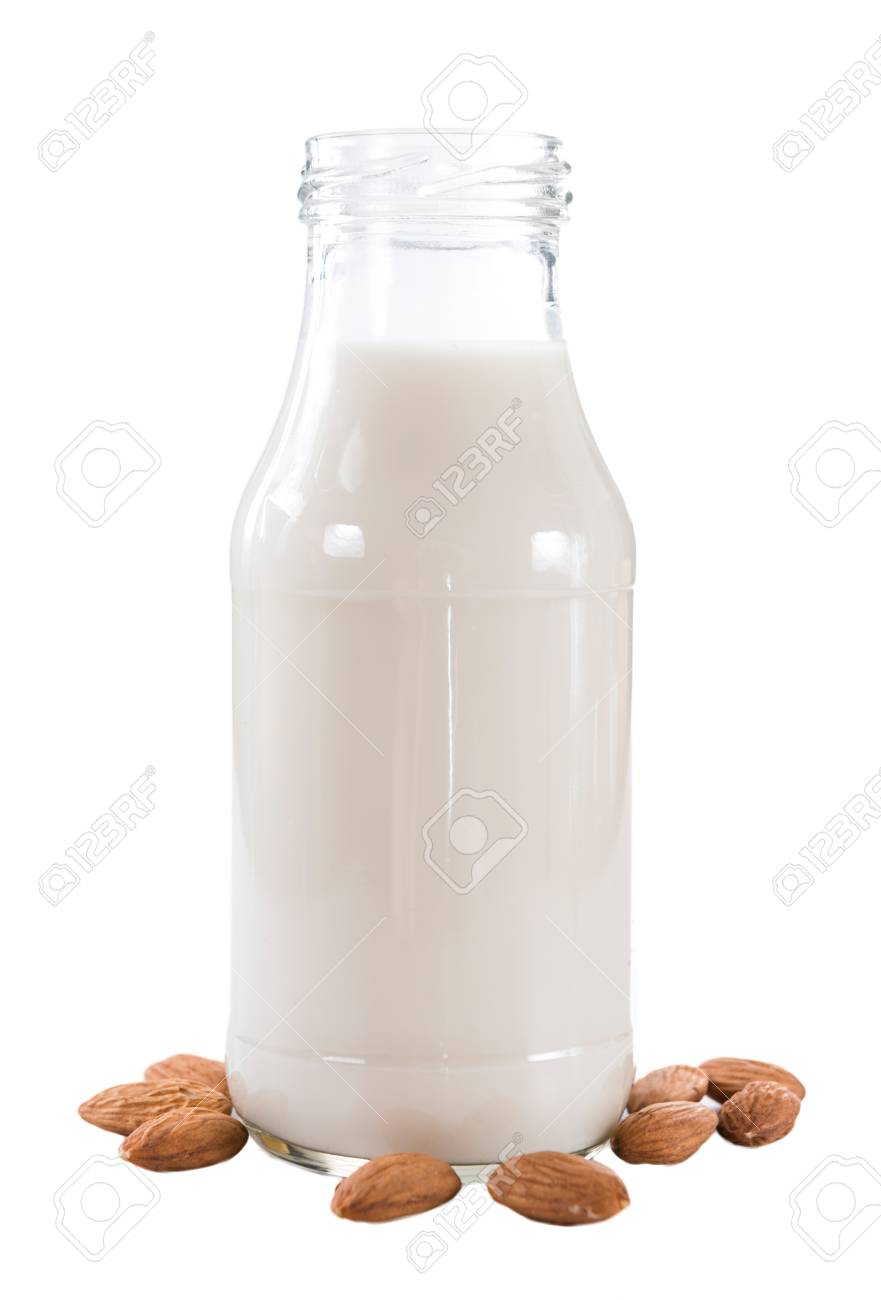 Almond Milk (selective focus) isolated on white background - 50281030