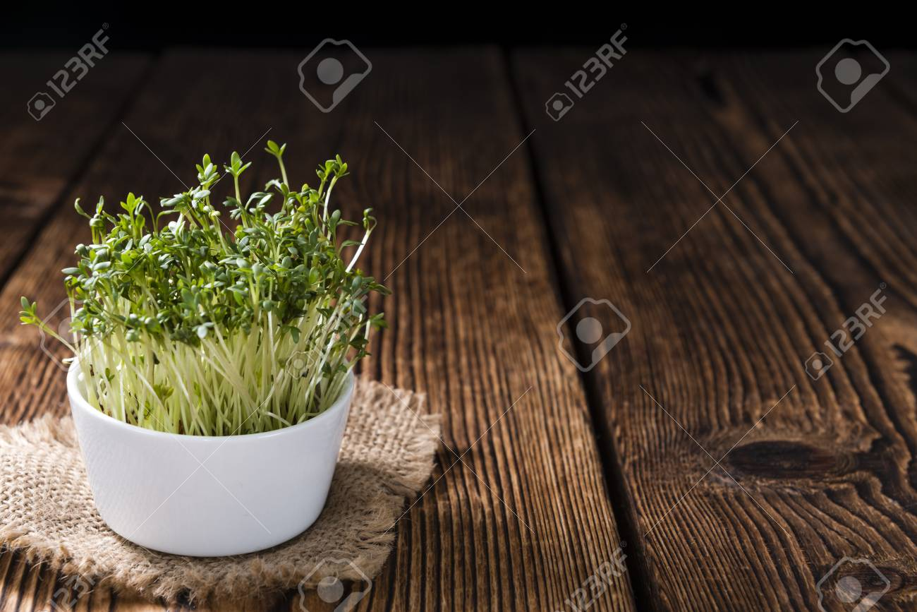 Portion Of Fresh Garden Cress (detailed Close-up Shot) On Wooden ...