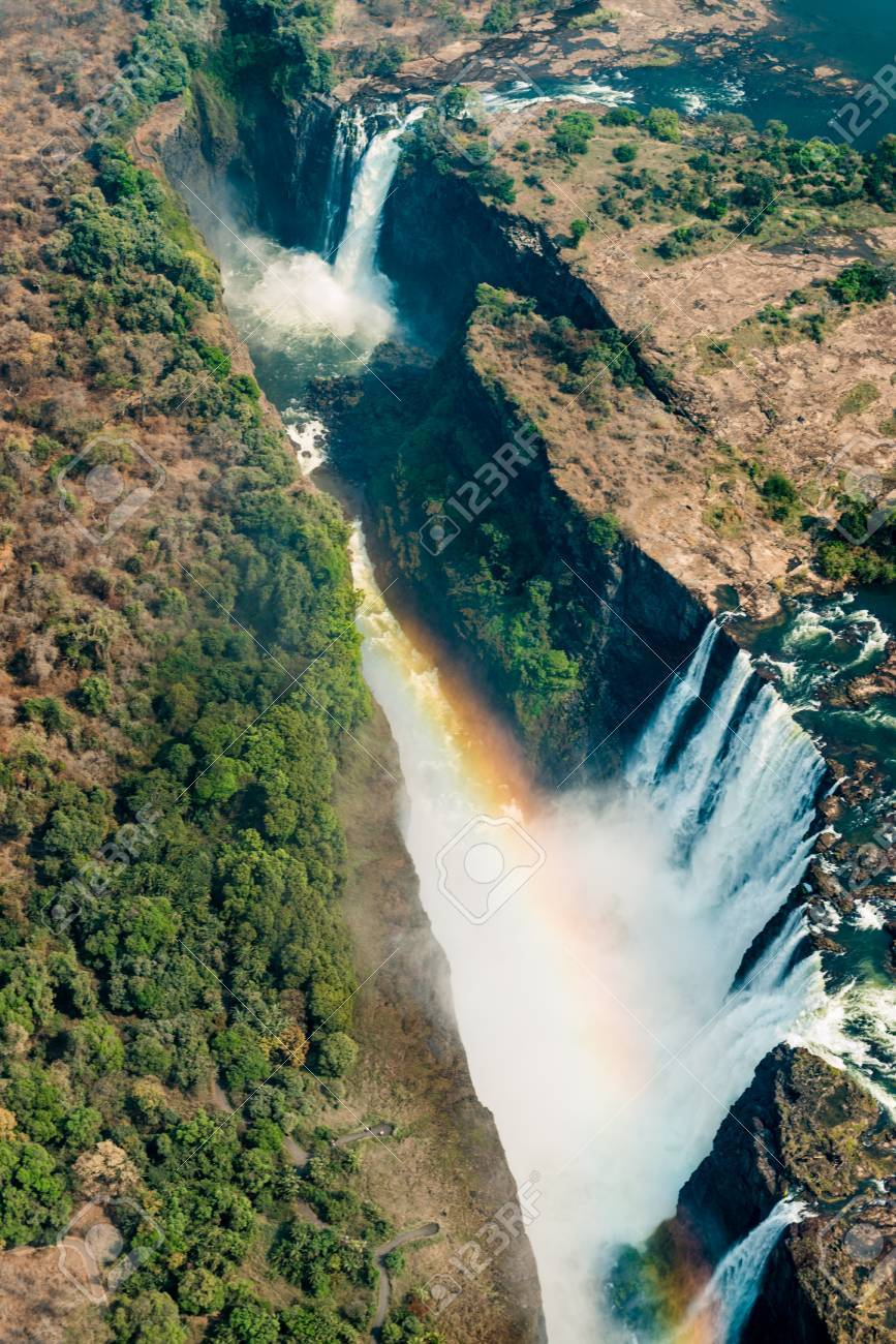 Victoria Falls In Zimbabwe At Drought Aerial Shot Made From