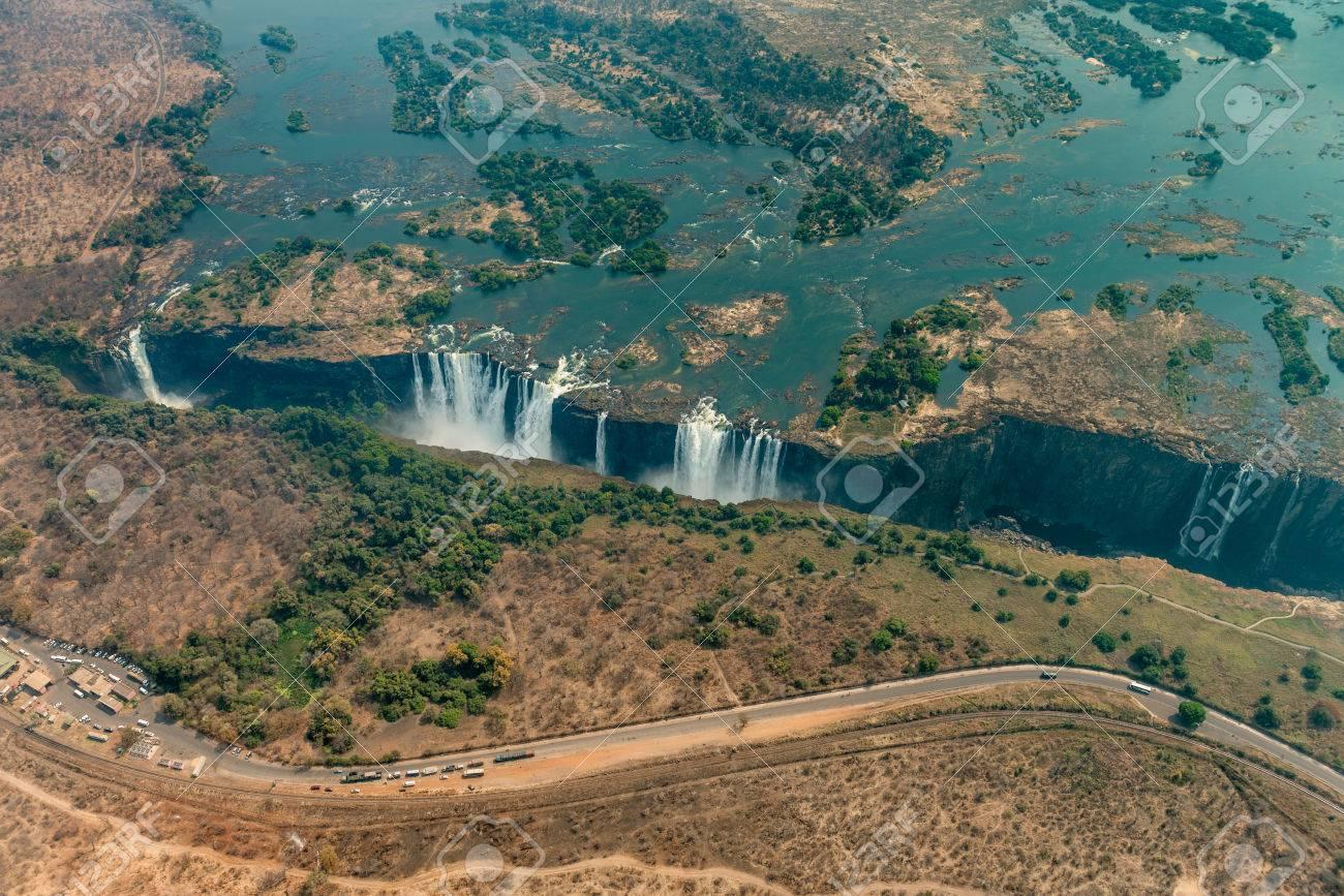 Victoria Falls At Drought Near Livingstone Zimbabwe As Aerial