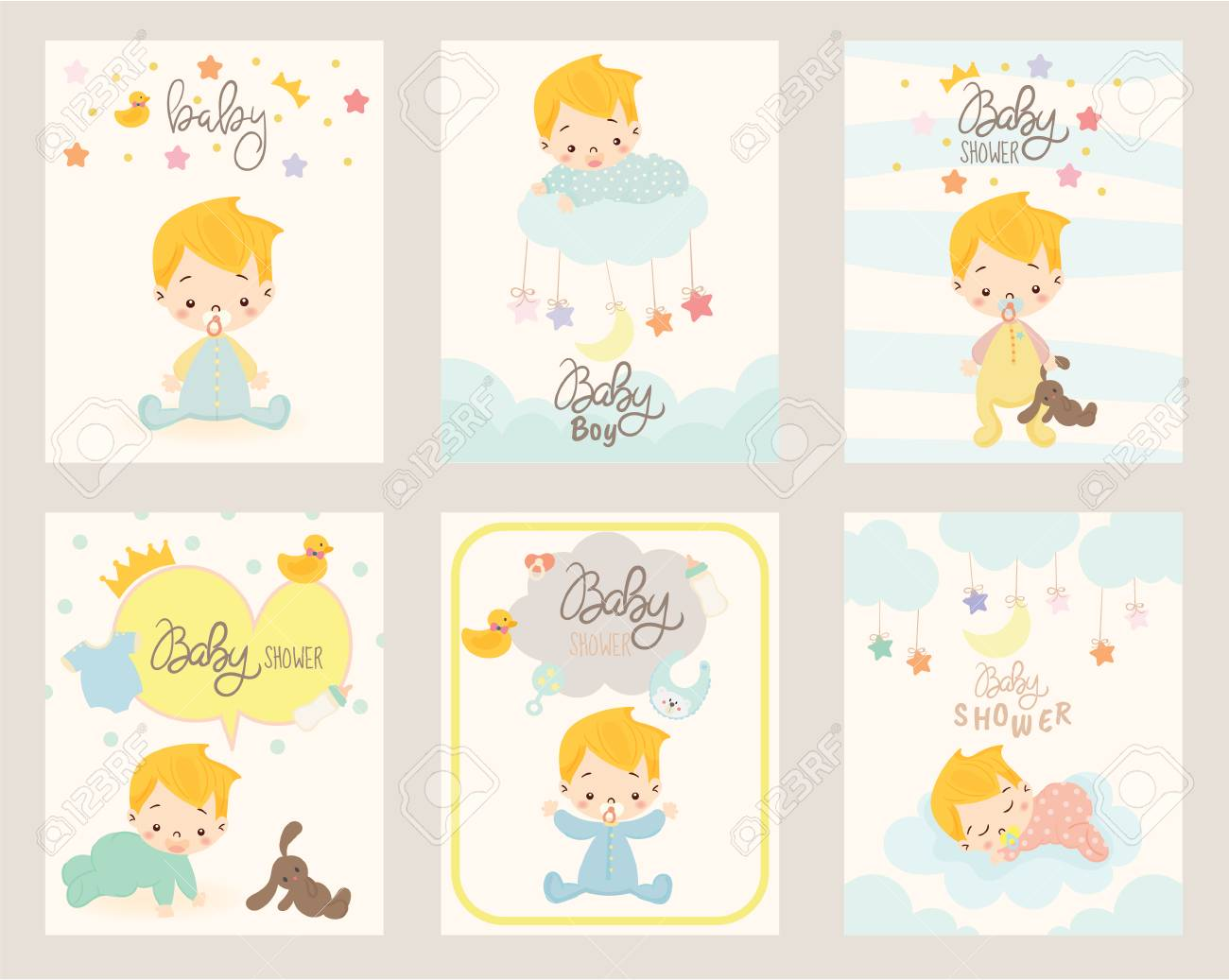 Cute Boy For Baby Shower Invitation Card Design Template