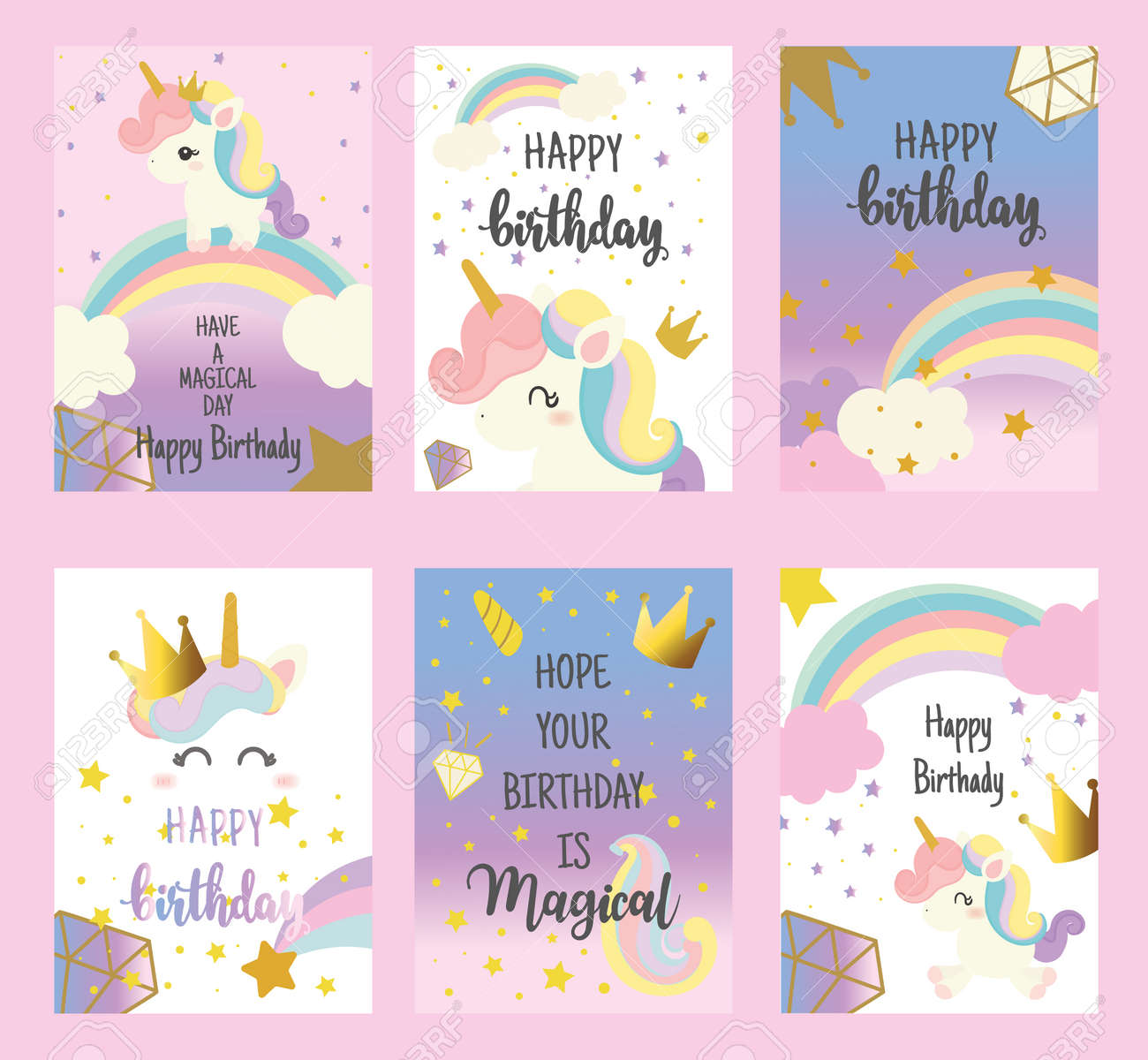 Set Of Happy Birthday Card With Cute Unicorn Greeting Lizenzfrei