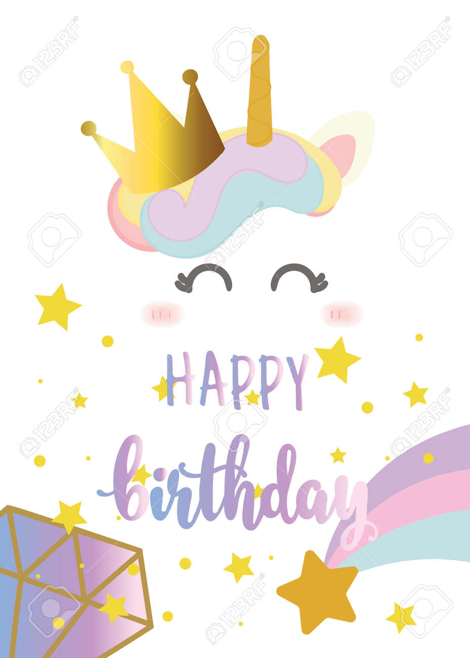 Happy Birthday Card With Cute Unicorn Greeting Hand Written Text Stock Vector