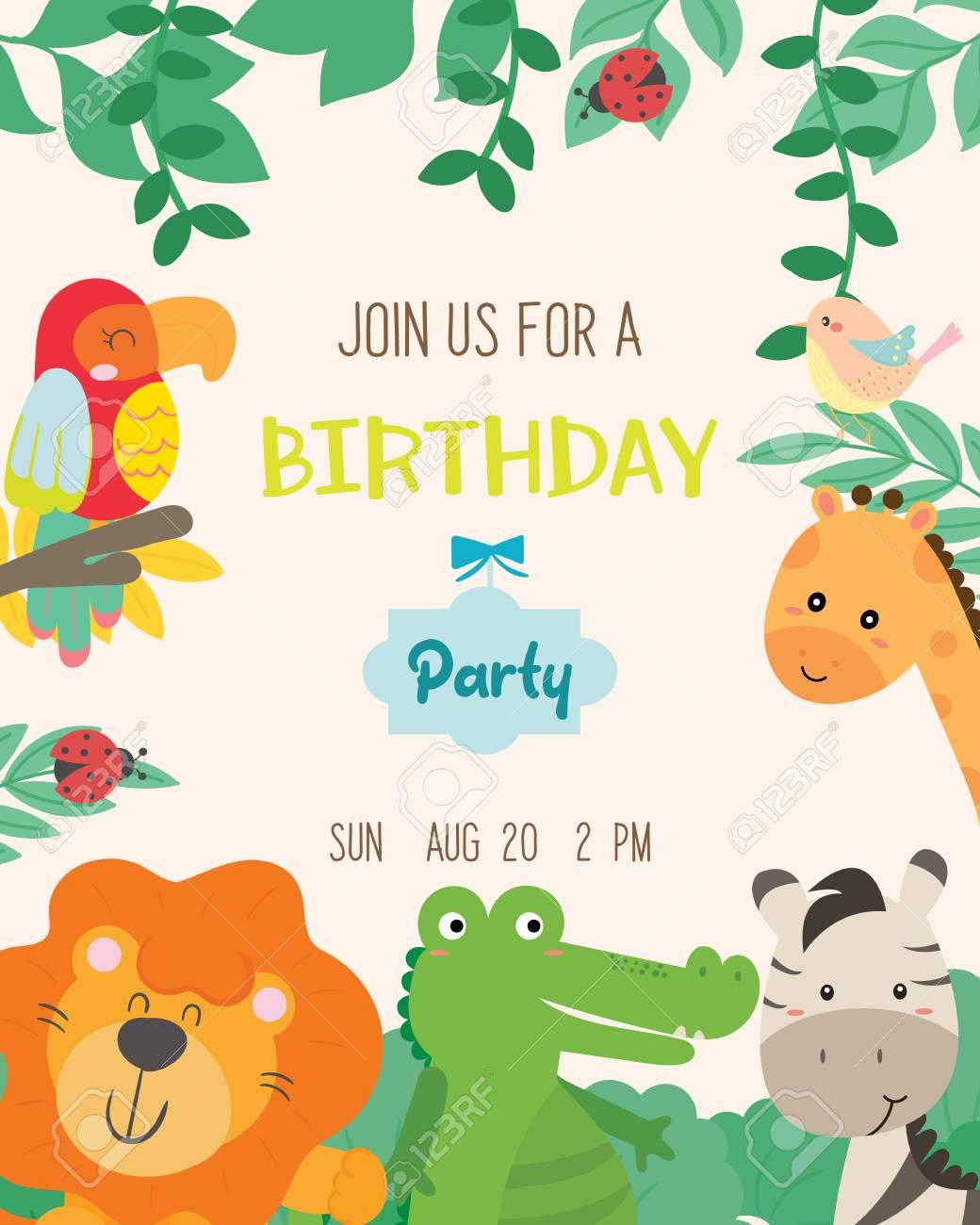 Cute Animal Theme Birthday Party Invitation Card Vector Illustration Stock