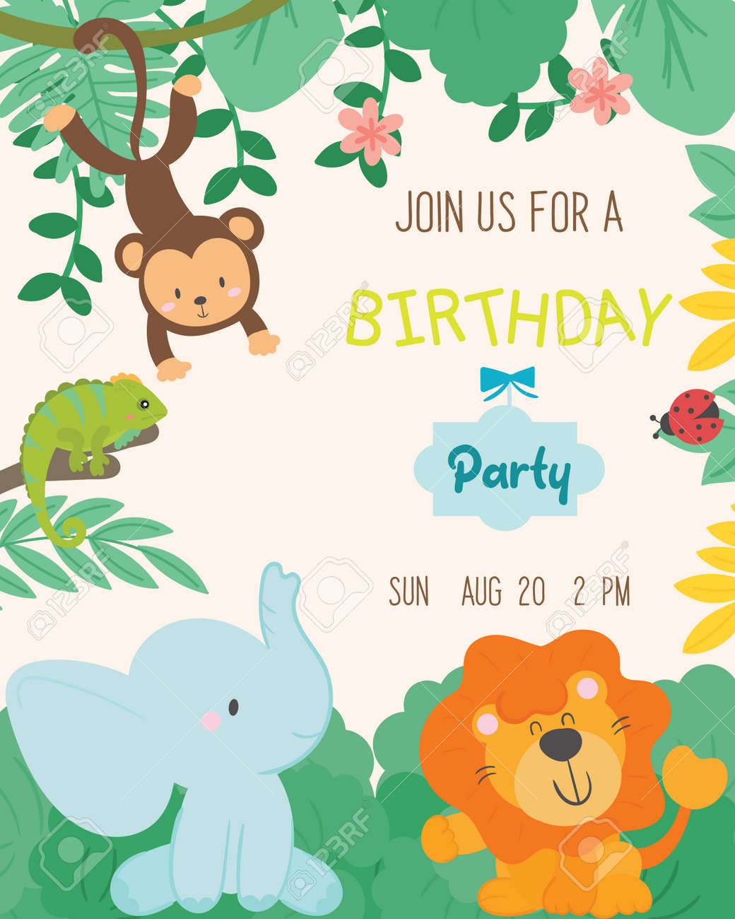 Cute Animal Theme Birthday Party Invitation Card Vector