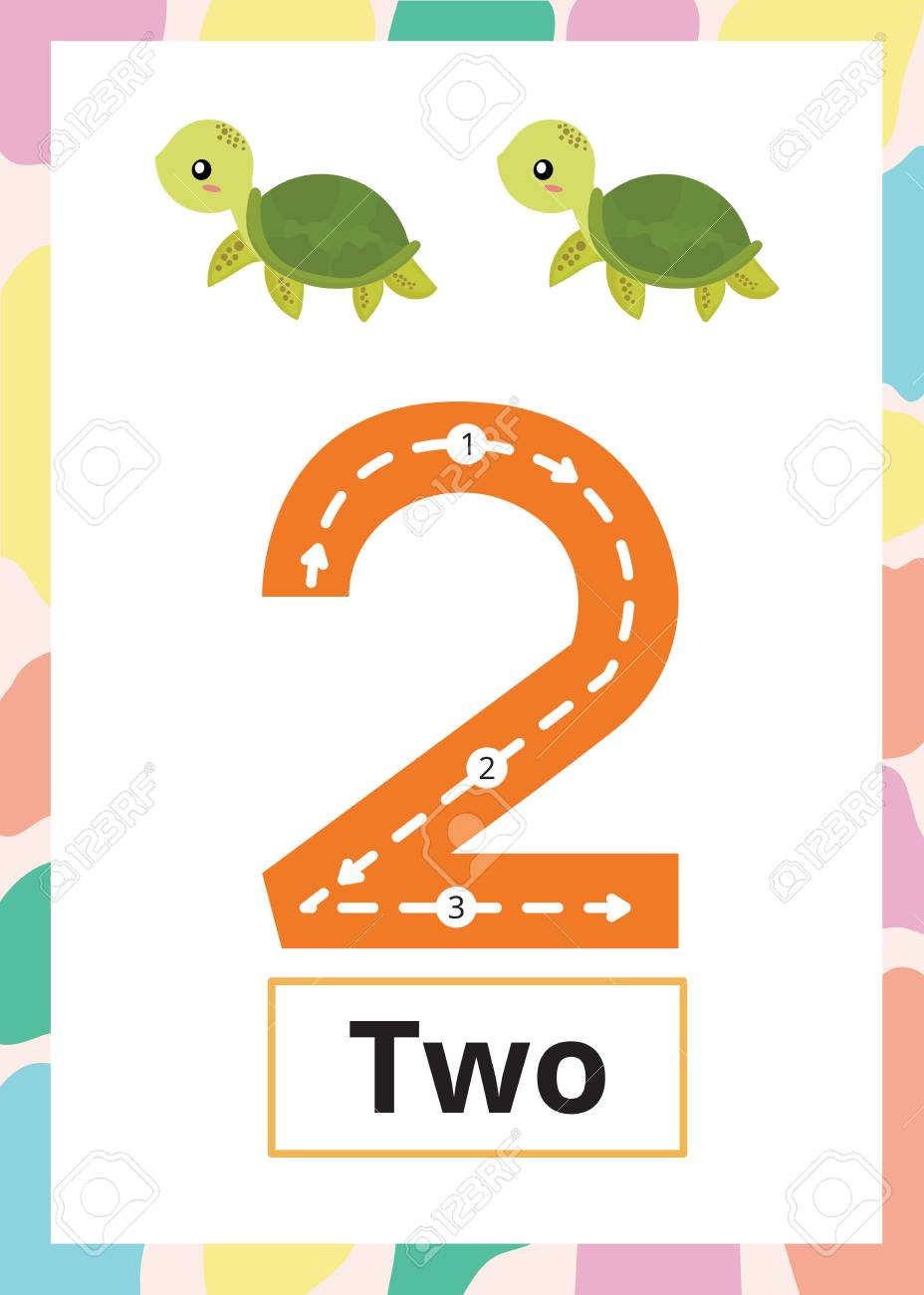 Number Tracing Worksheet number 2 with turtle. - 108457306