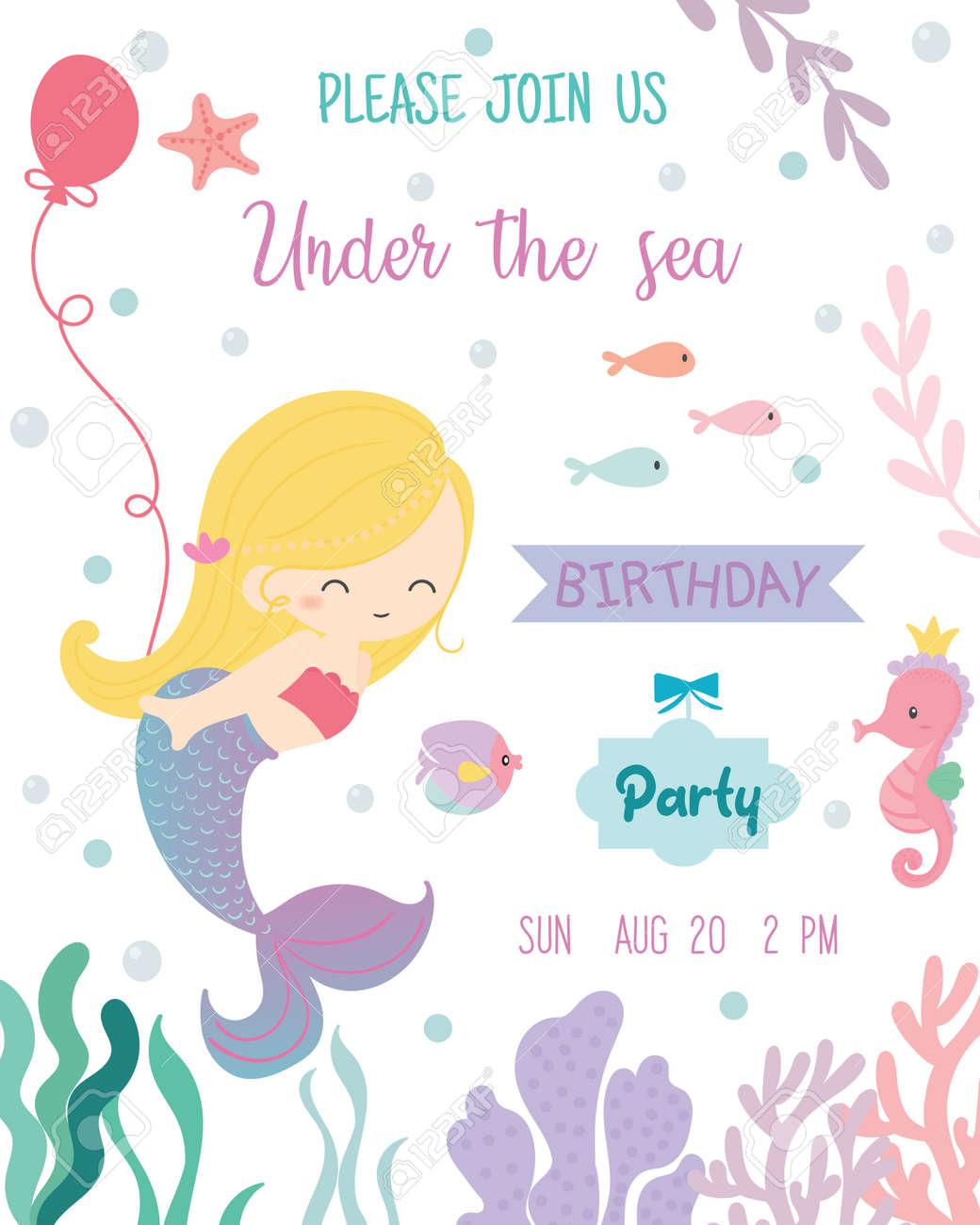 Cute Mermaid Theme Birthday Party Invitation Card Vector Illustration