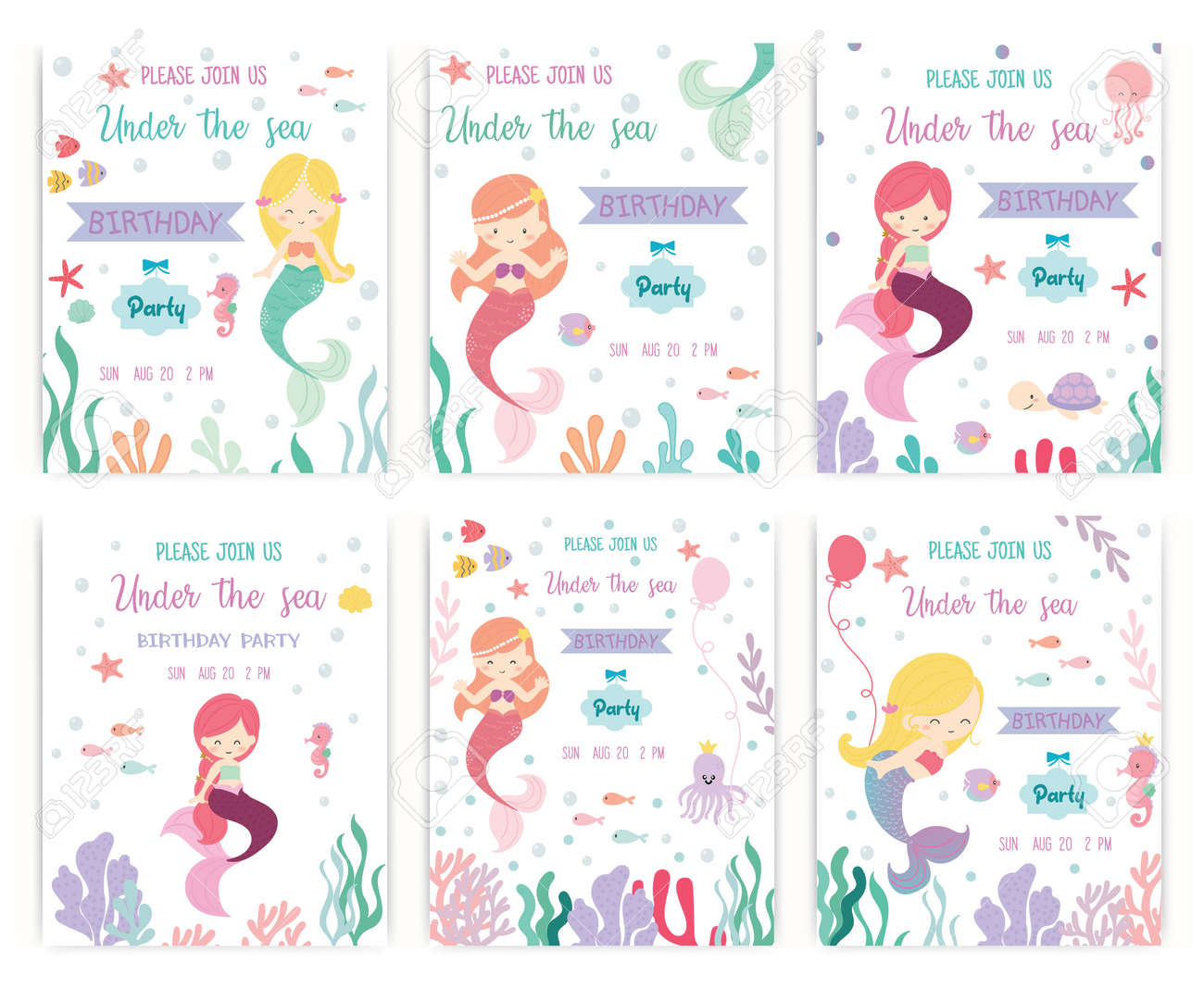 Set Of Cute Mermaid Theme Birthday Party Invitation Card Vector