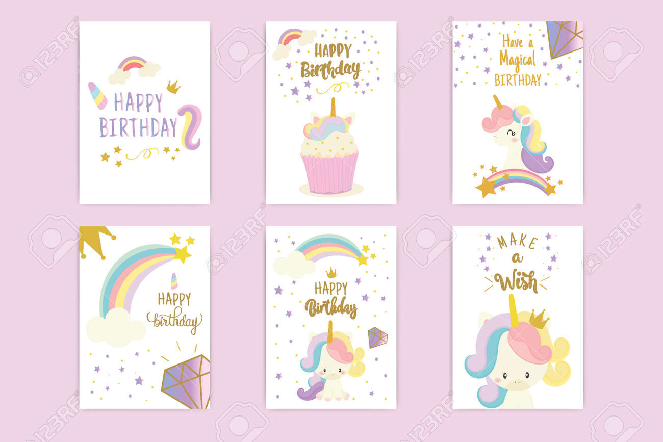 Set Of Happy Birthday Card With Cute Unicorn Greeting Royalty Free