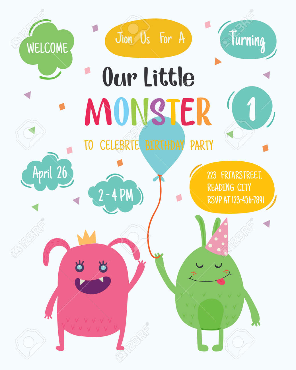Cute Monster Happy Birthday Party Invitation Card Design Vector