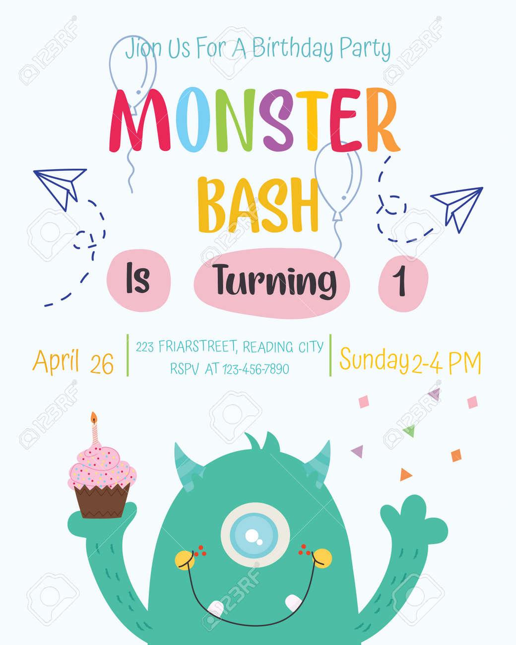 Cute Monster Happy Birthday Party Invitation Card Design Vector