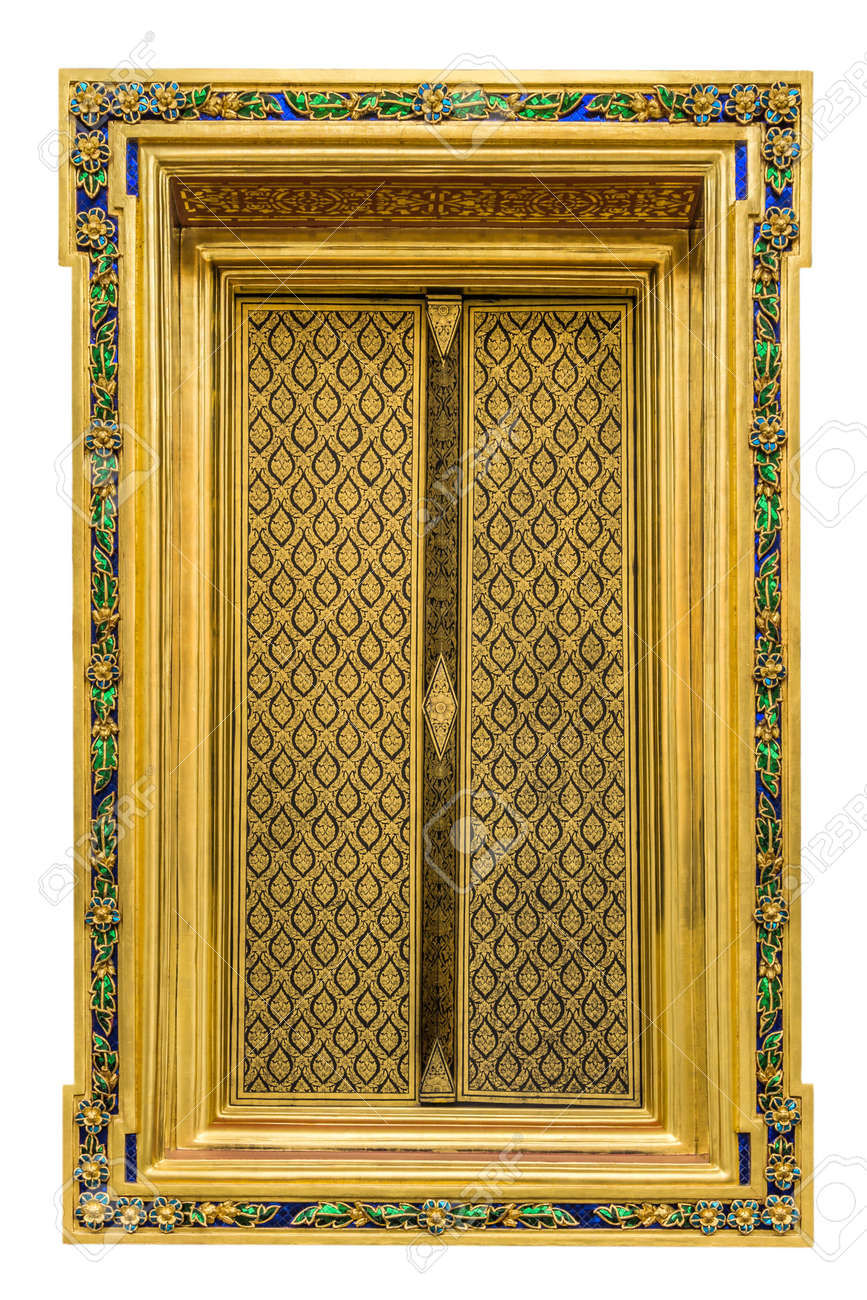 Isolated Golden Window Thai Lacquer Works And Decoration With ...