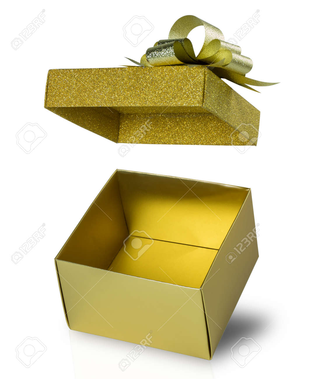 Close up open gift box and floating glitter lid isolated on white background with clipping path  sc 1 st  123RF.com & Close Up Open Gift Box And Floating Glitter Lid Isolated On White ...