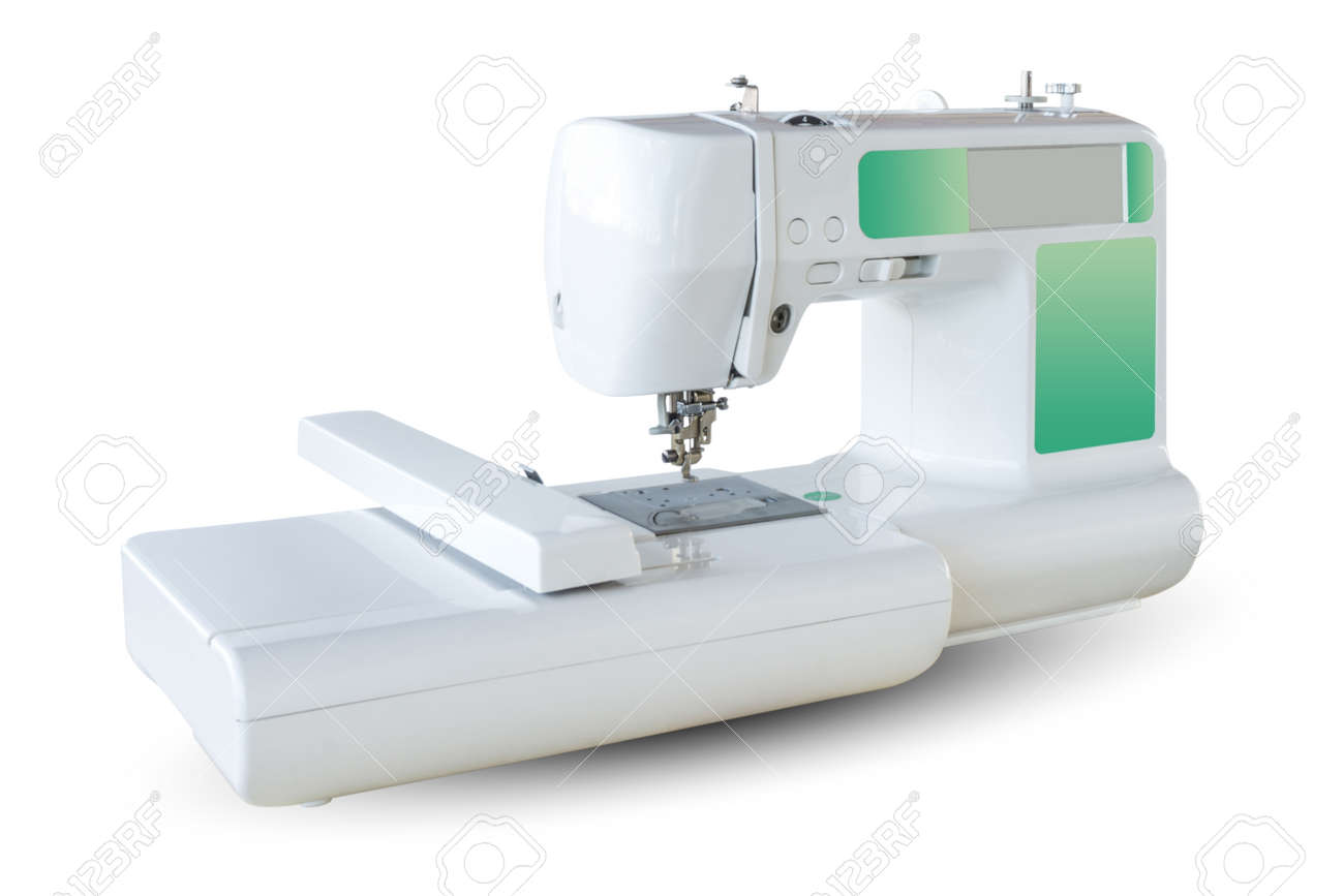 isolated white background of embroidery machine for home user