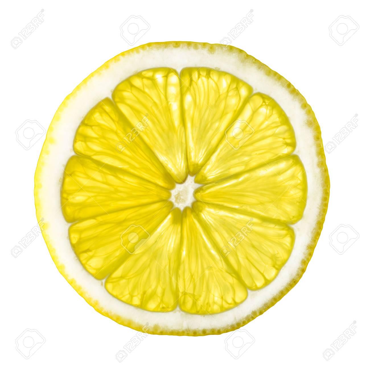isolated lemon slice on white background close up picture