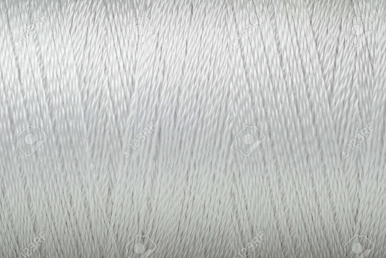 Macro picture of thread texture white color surface background - 122558674