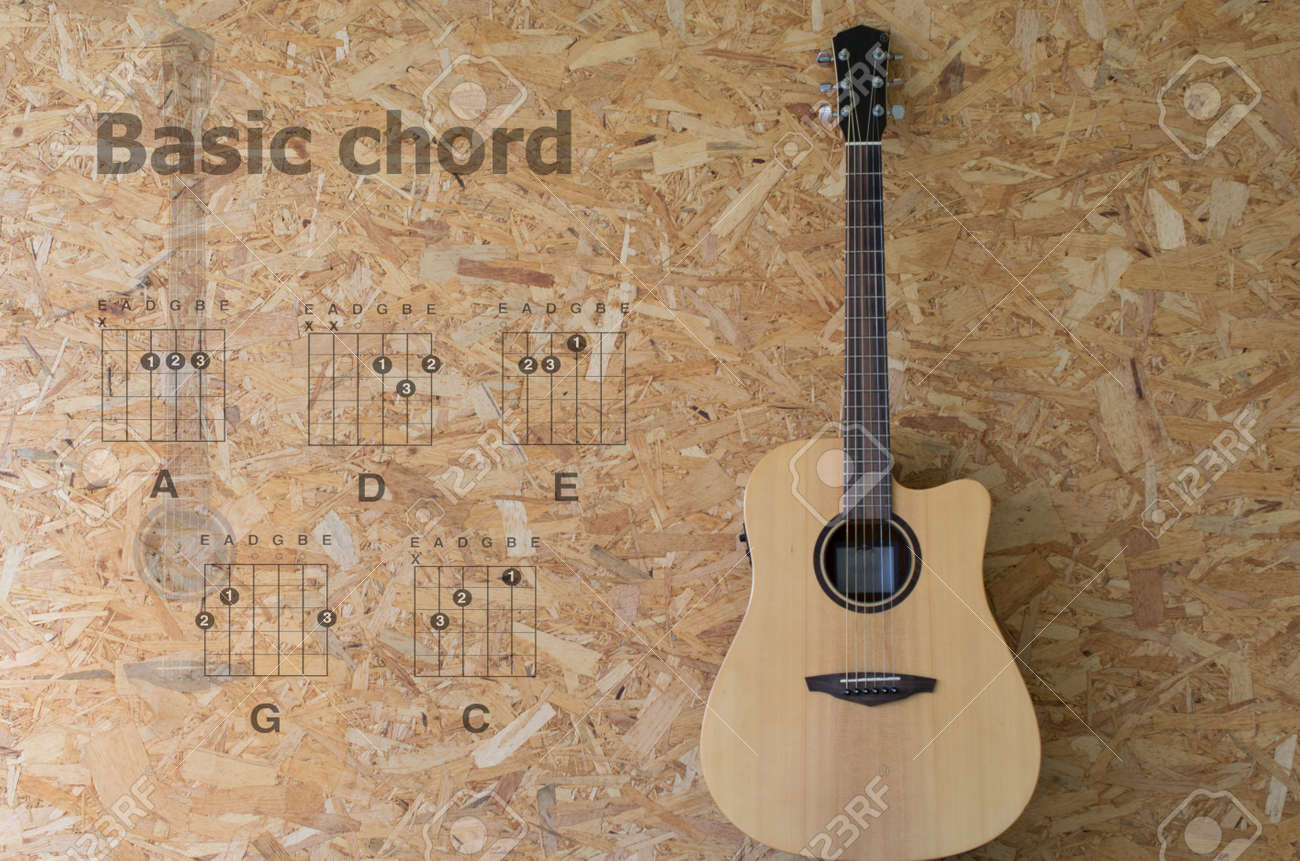 Acoustic Guitar With Basic Chord On Wood Background Stock Photo