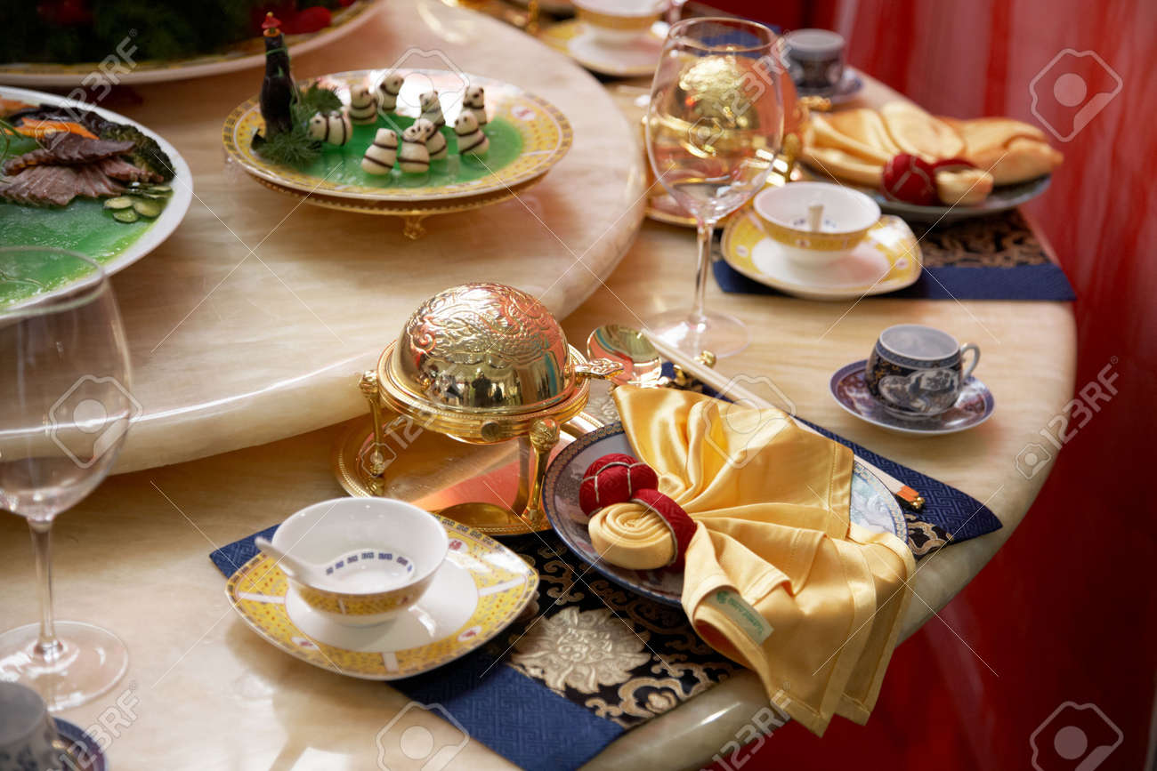 Chinese table setting - Luxury Restaurant Table Setting Stock Photo 5040183