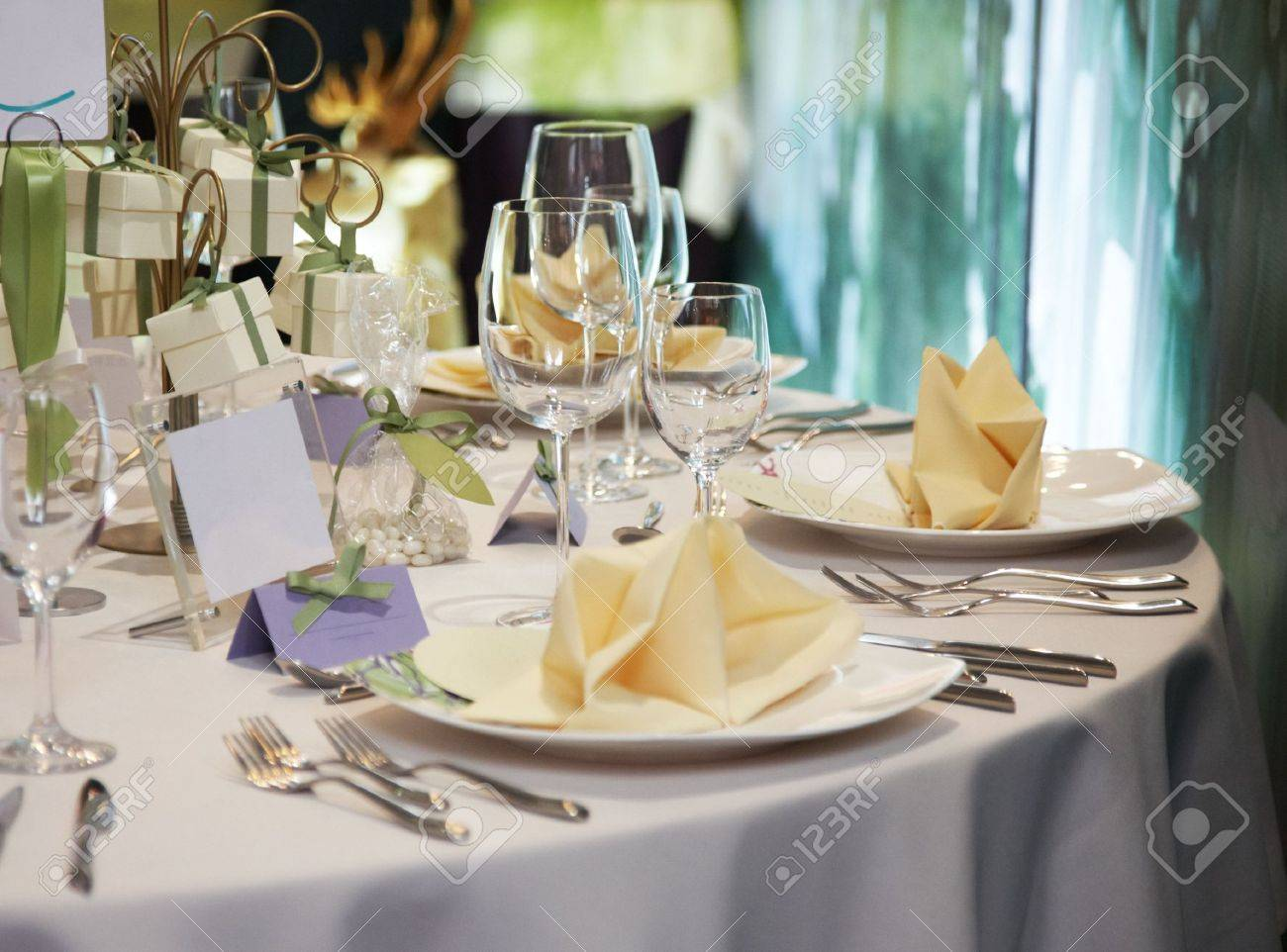 Elegant Table Setting For Wedding Stock Photo, Picture And Royalty ...