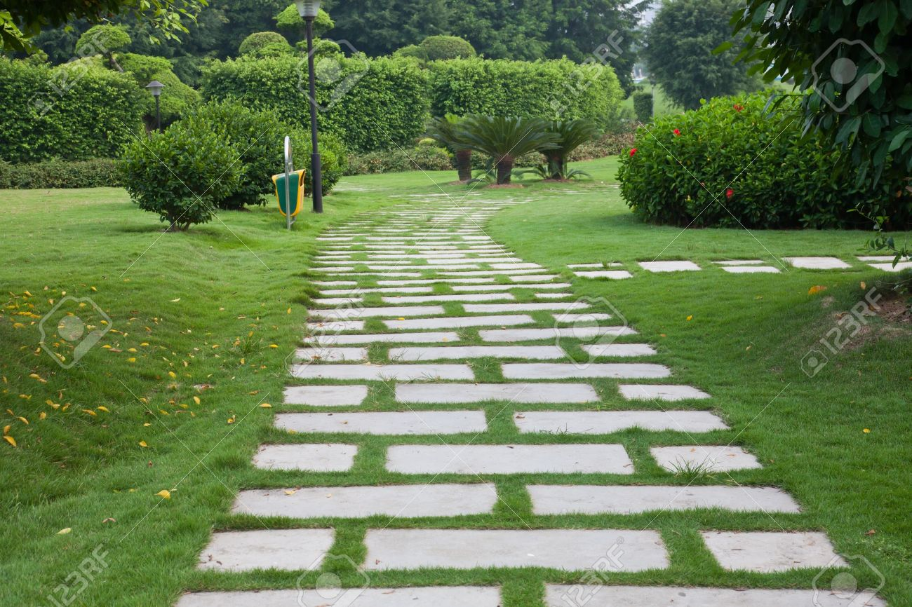 Garden Path Through The Lawn Stock Photo, Picture And Royalty Free ...