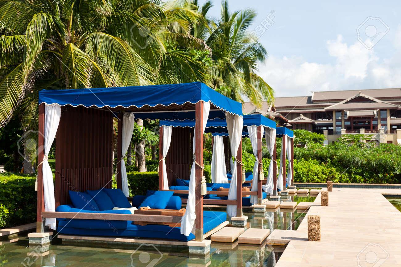 Massage beds at the poolside, The Ritz-Carlton Hotel, Sanya, Hainan Island