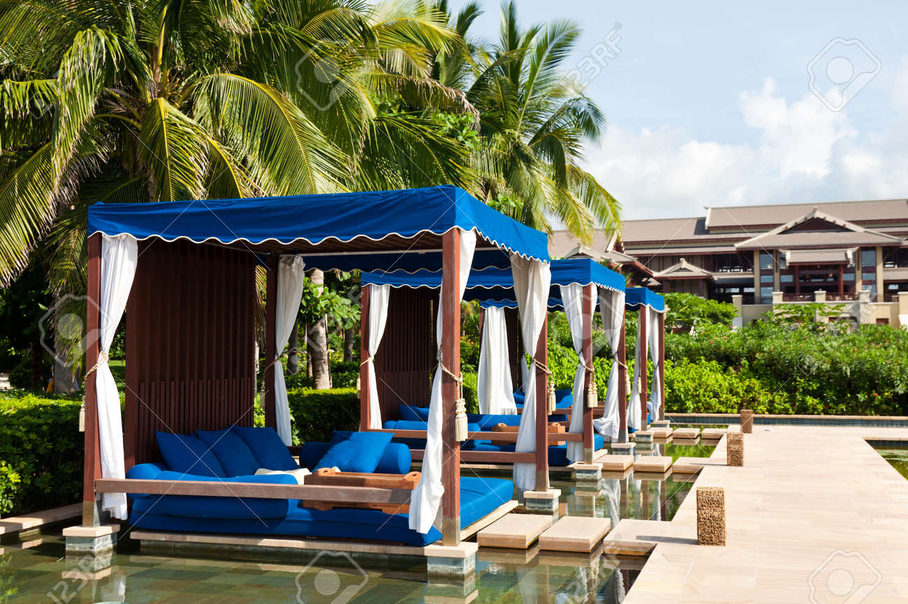 Massage Beds At The Poolside, The Ritz Carlton Hotel, Sanya, Hainan Island