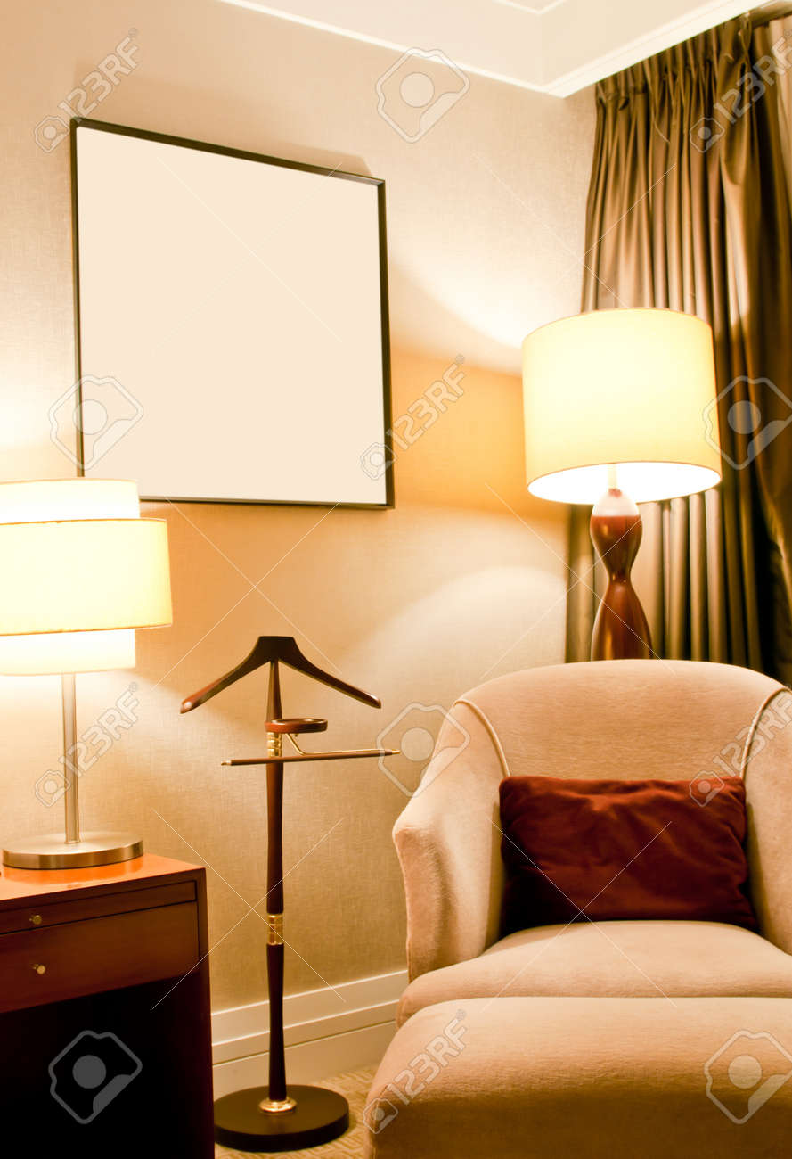 Modern living room with sofa, lamp,table and curtain, Huaying hotel, Qingdao, China Stock Photo - 11200189