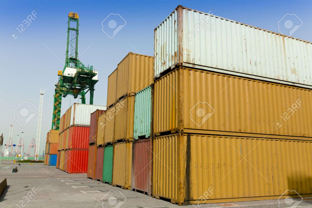 Stacks of cargo blocks at Tianjin Port, China Stock Photo - 11565108