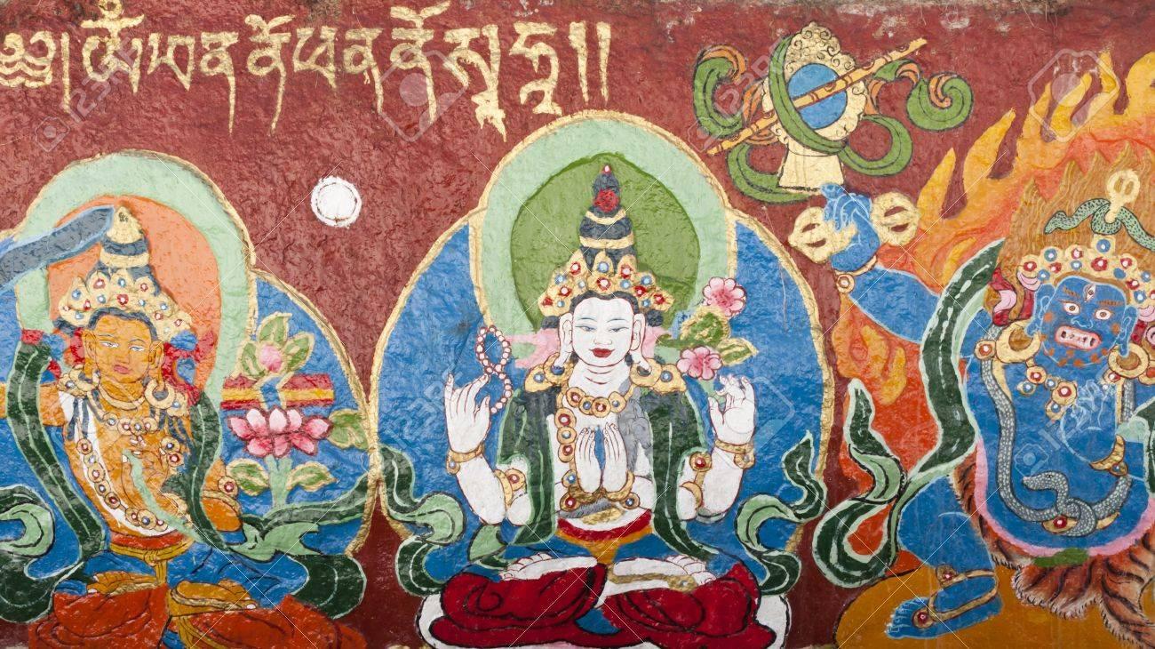 Religious Tibetan Thangka of White Tara painted on the temple wall, Lhasa, Tibet Stock Photo - 17437255