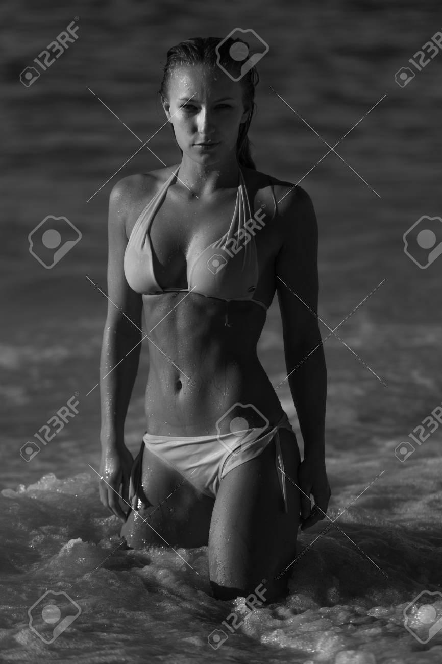 Black and white picture of a hot bikini woman stock photo 40404629