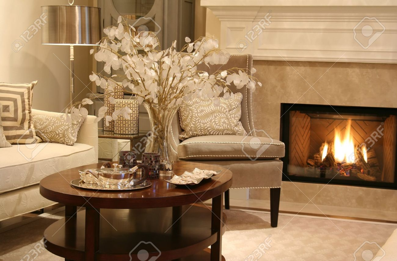 Elegant Living Room With Fireplace On. Stock Photo   2533430 Part 77
