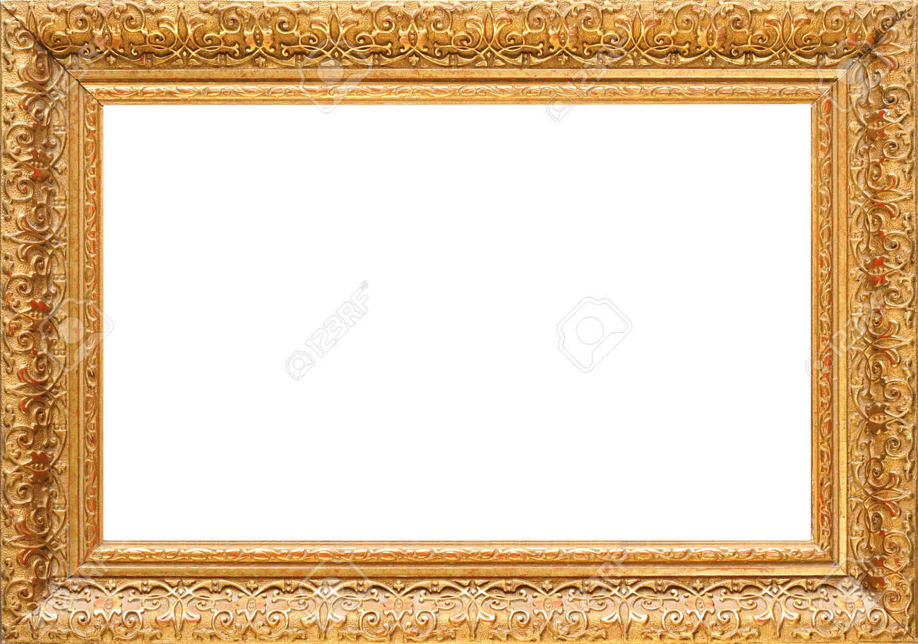 Antique Wooden Gold Frame, Intricately Carved Stock Photo, Picture ...