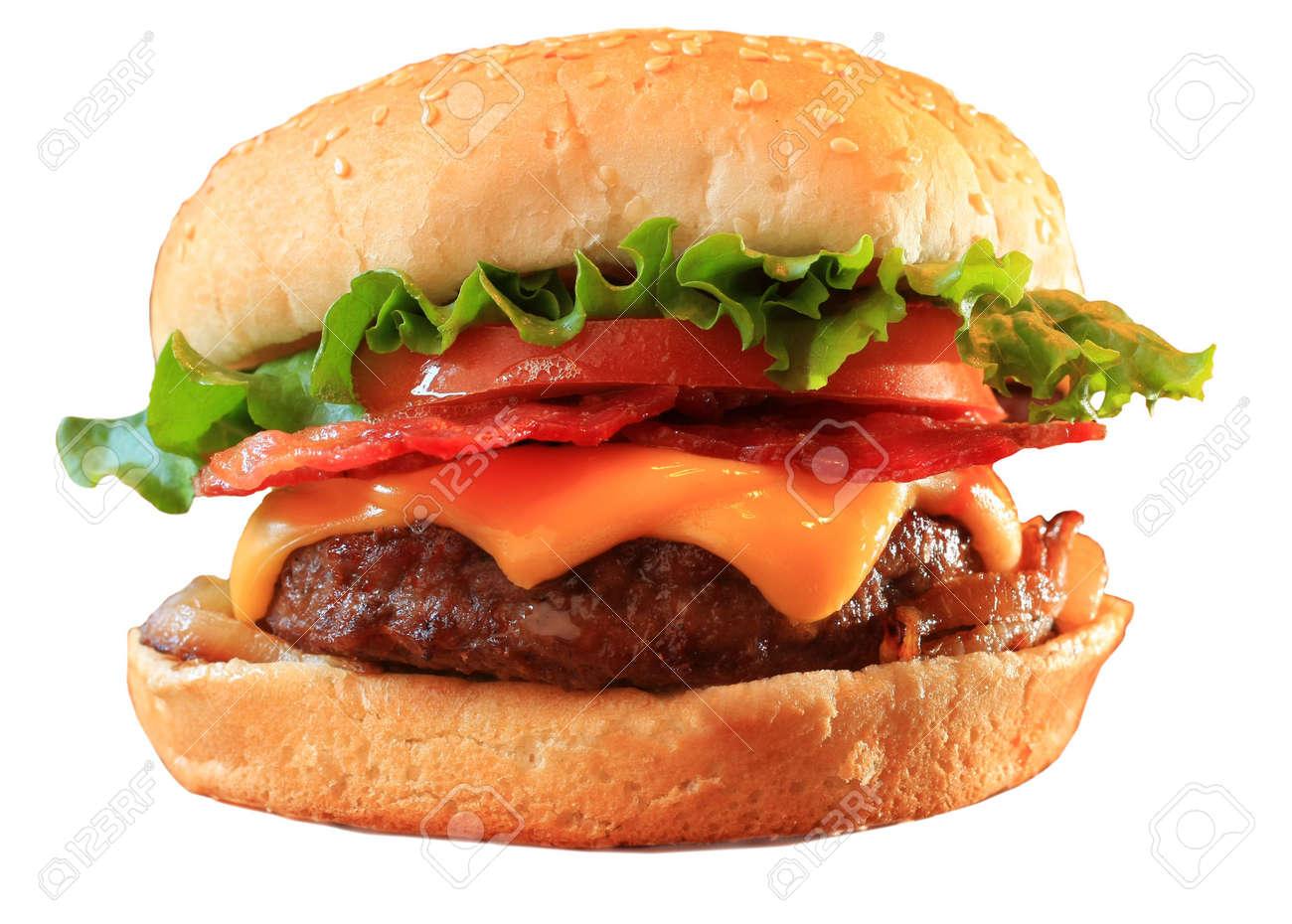 Bacon cheeseburger, isolated on white. Stock Photo - 3355653