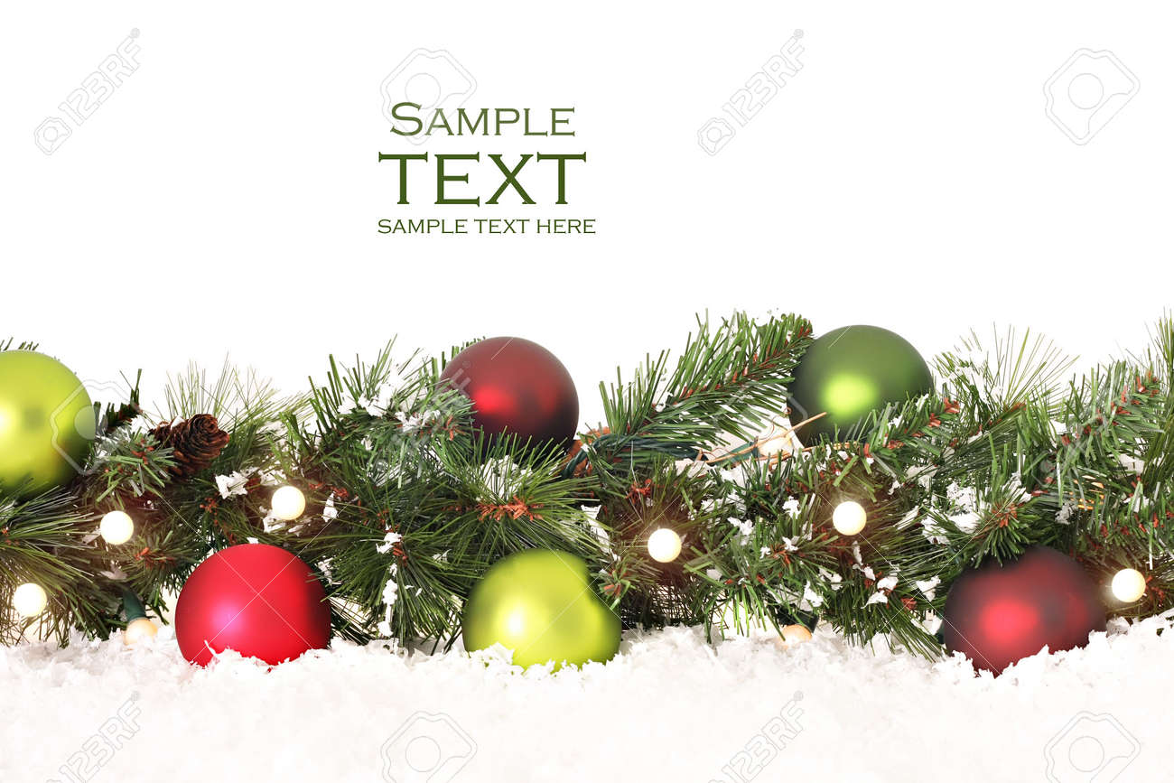 Christmas Border Of Evergreen, Ornaments, Lights And Snow Stock Photo   3864182