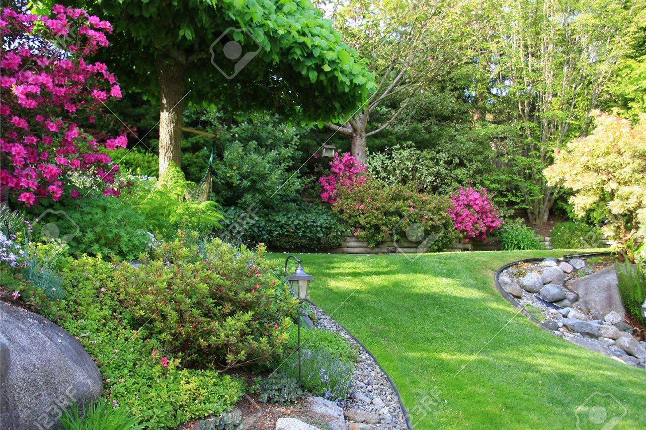 Beautiful Park Garden In Spring. Stock Photo   4562957 Part 81